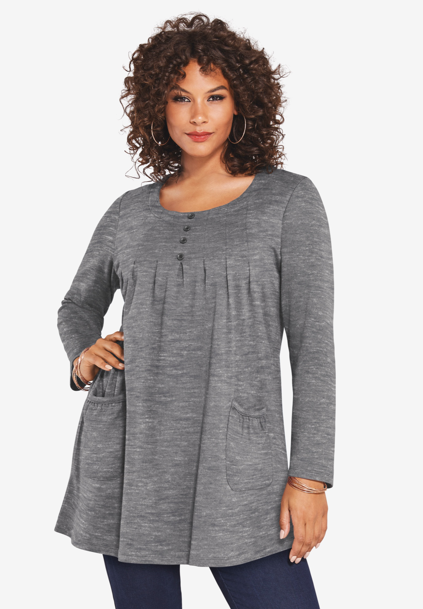 Long-Sleeve Two-Pocket Soft Knit Tunic,