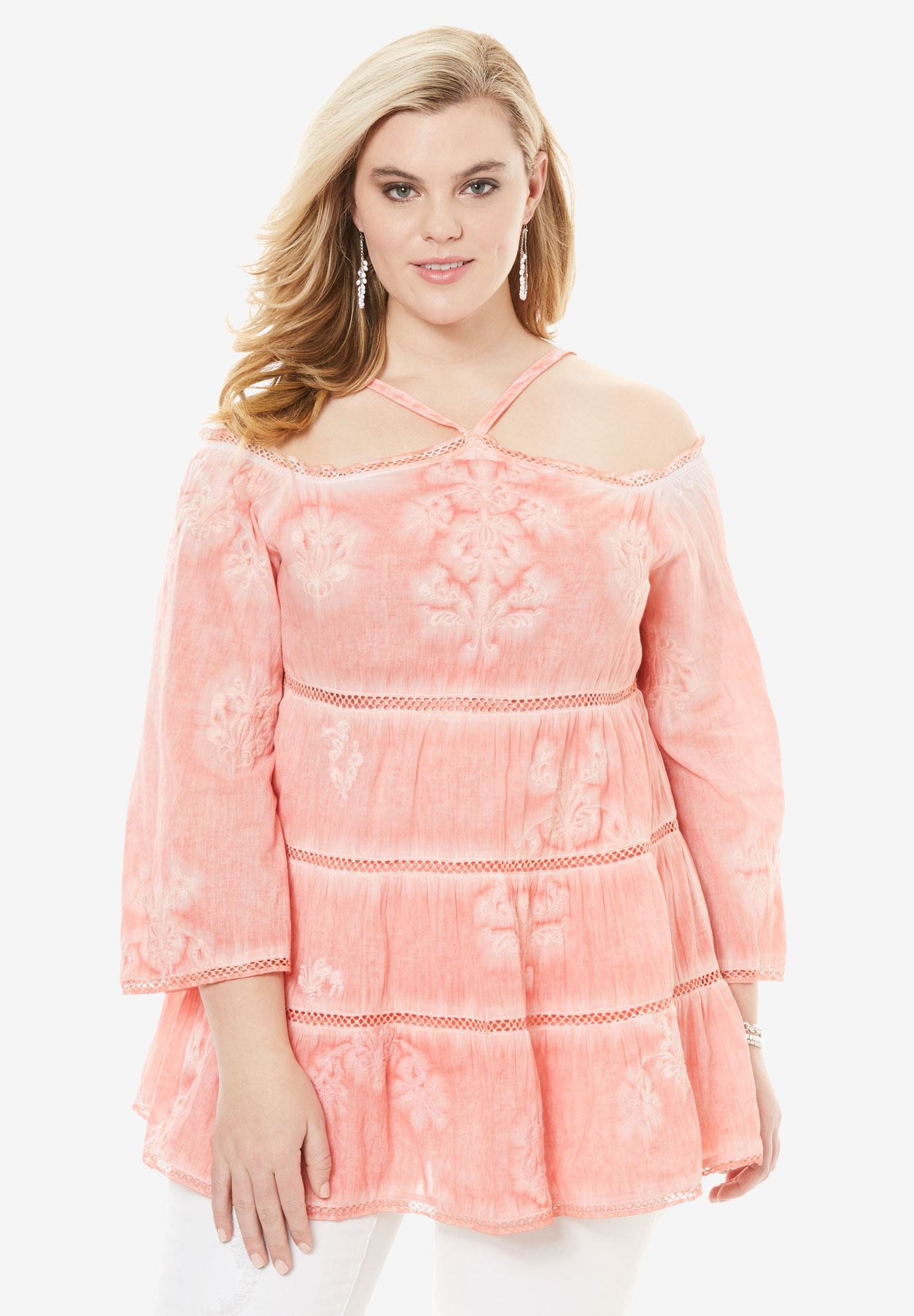 Cold Shoulder Embroidered Tunic, SUN BLEACH CORAL, hi-res