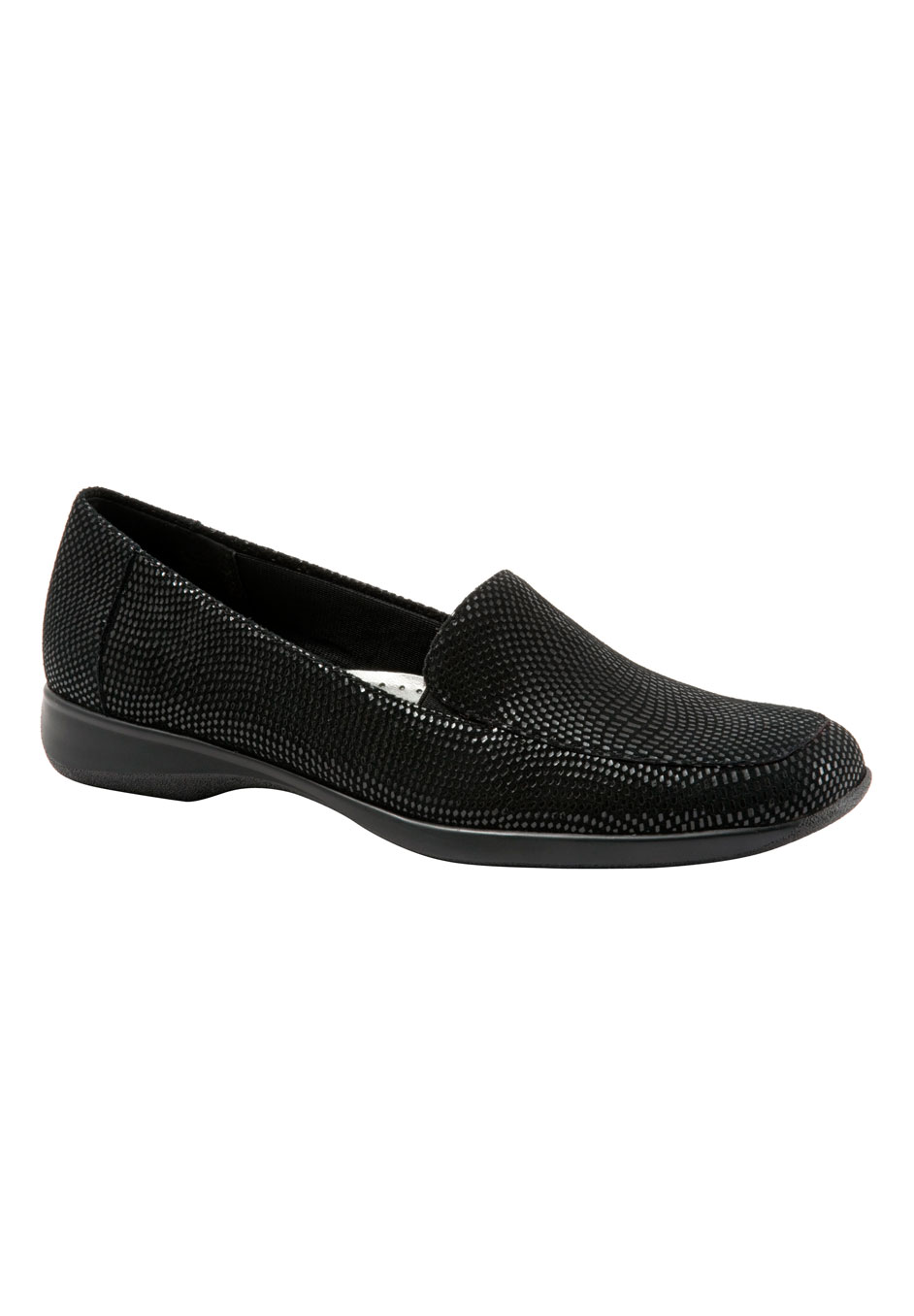 Jenn Mini Dots Leather Loafer by Trotters®, BLACK SUEDE, hi-res