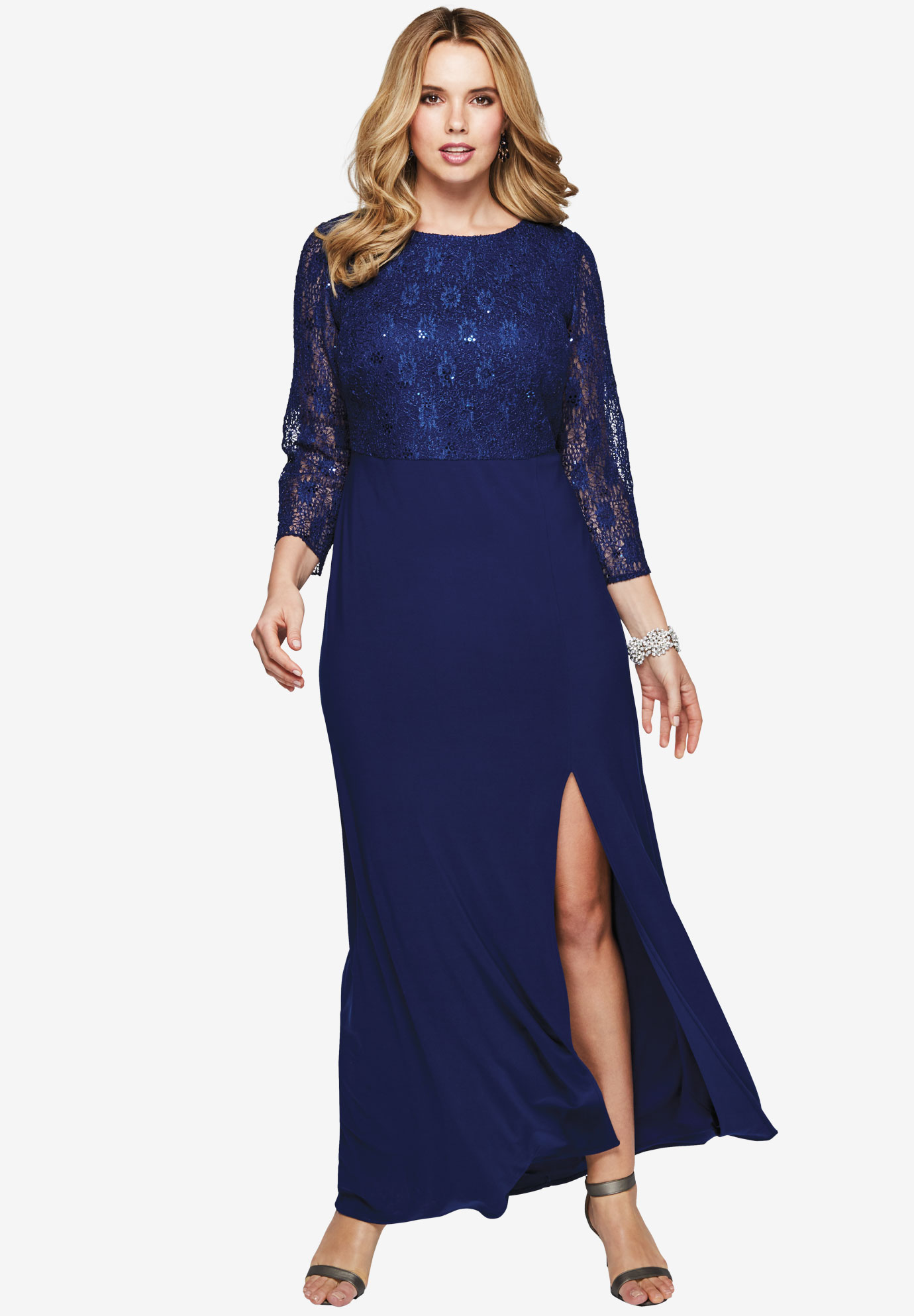 Sequin Lace Bodice Gown, EVENING BLUE, hi-res