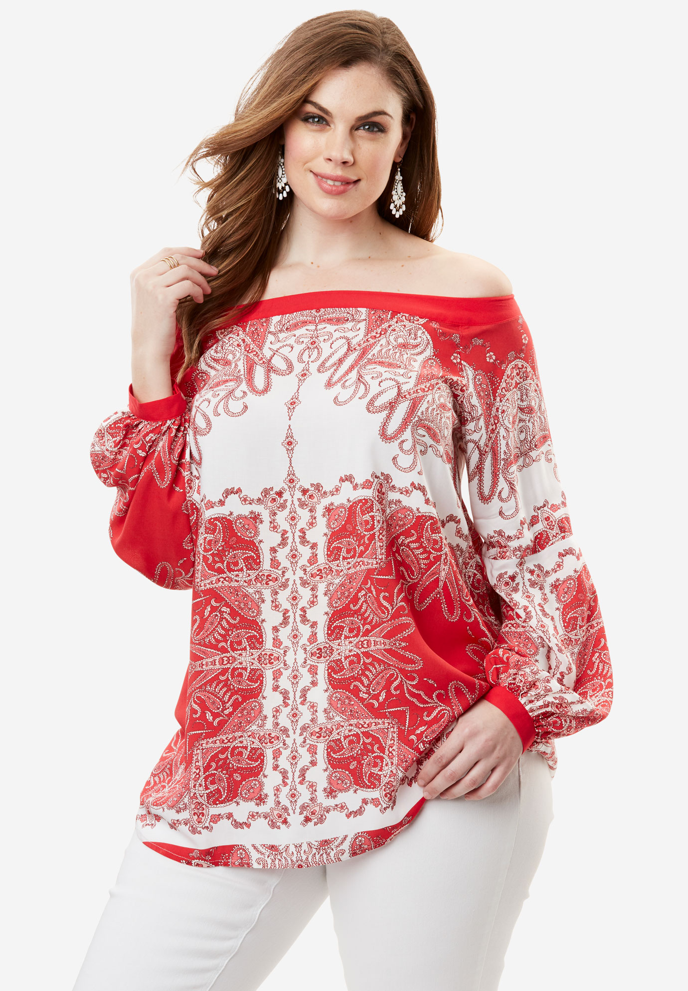 Off-The-Shoulder Top, HOT RED PAISLEY, hi-res