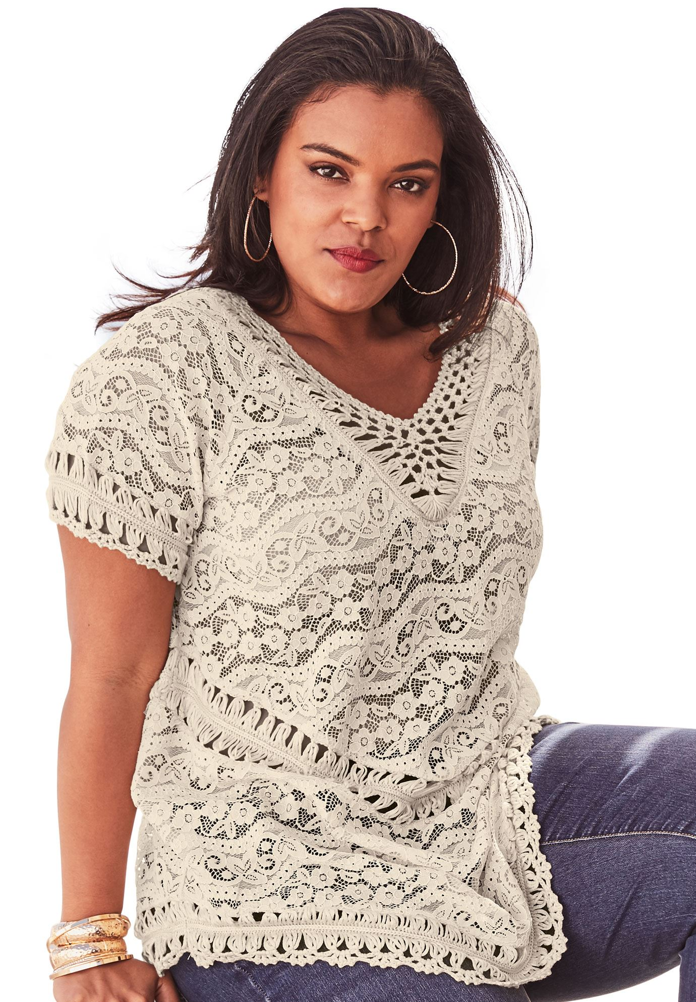 Lace and Crochet Sweater,