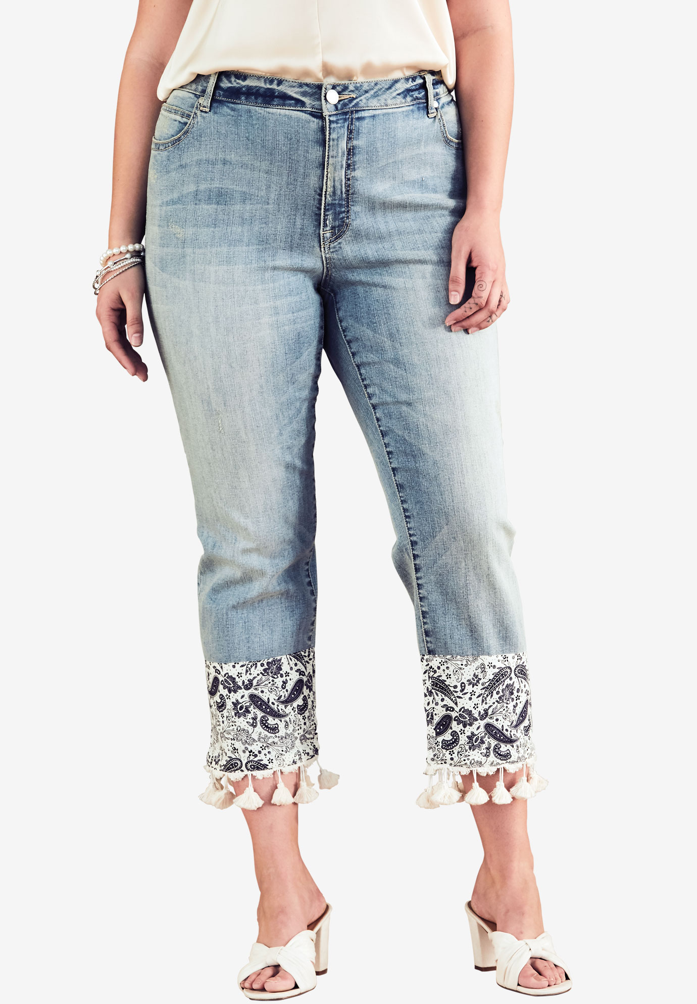 Cropped Jean With Tassel Bandana Hem By Denim 24/7®, LIGHT WASH, hi-res
