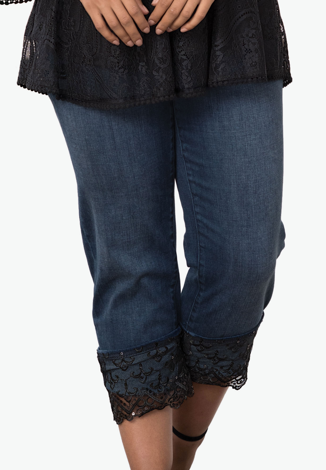 Lace Cuff Jean by Denim 24/7®, DARK WASH, hi-res