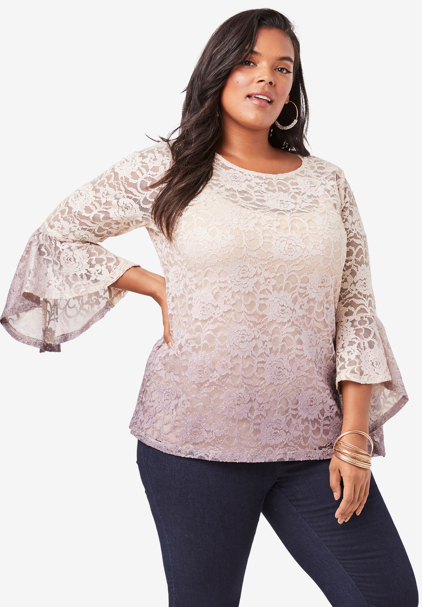 Ombre Lace Bell-Sleeve Top,