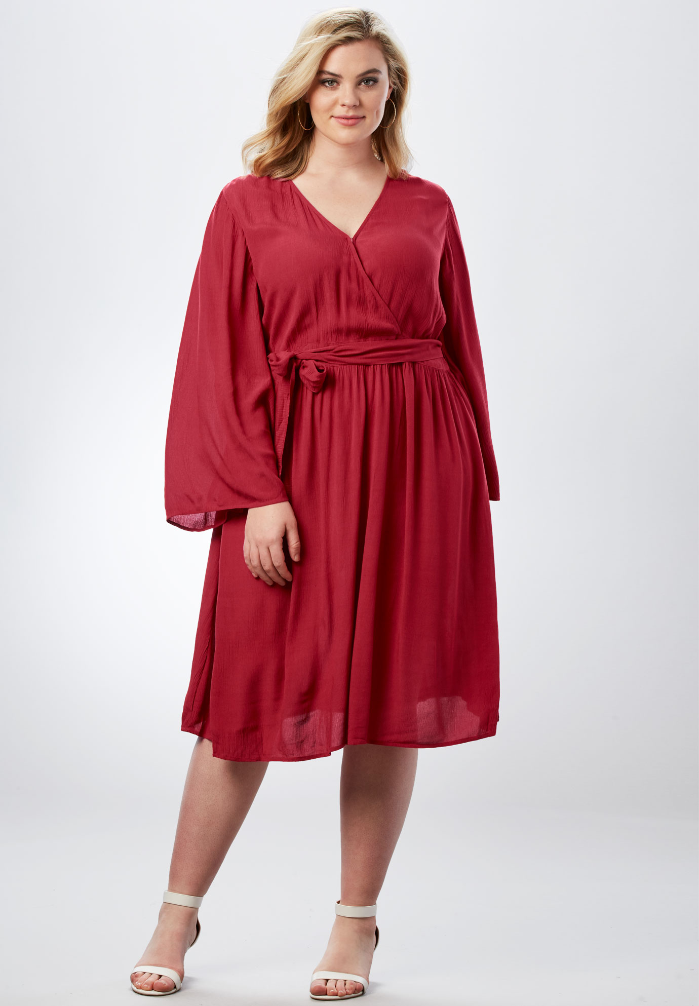 Bell-Sleeve Wrap Dress in Crinkle,