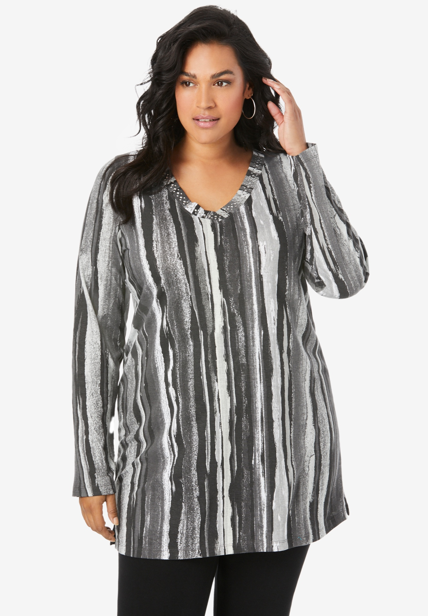 Studded Tie-Dye Long Sleeve Tunic,