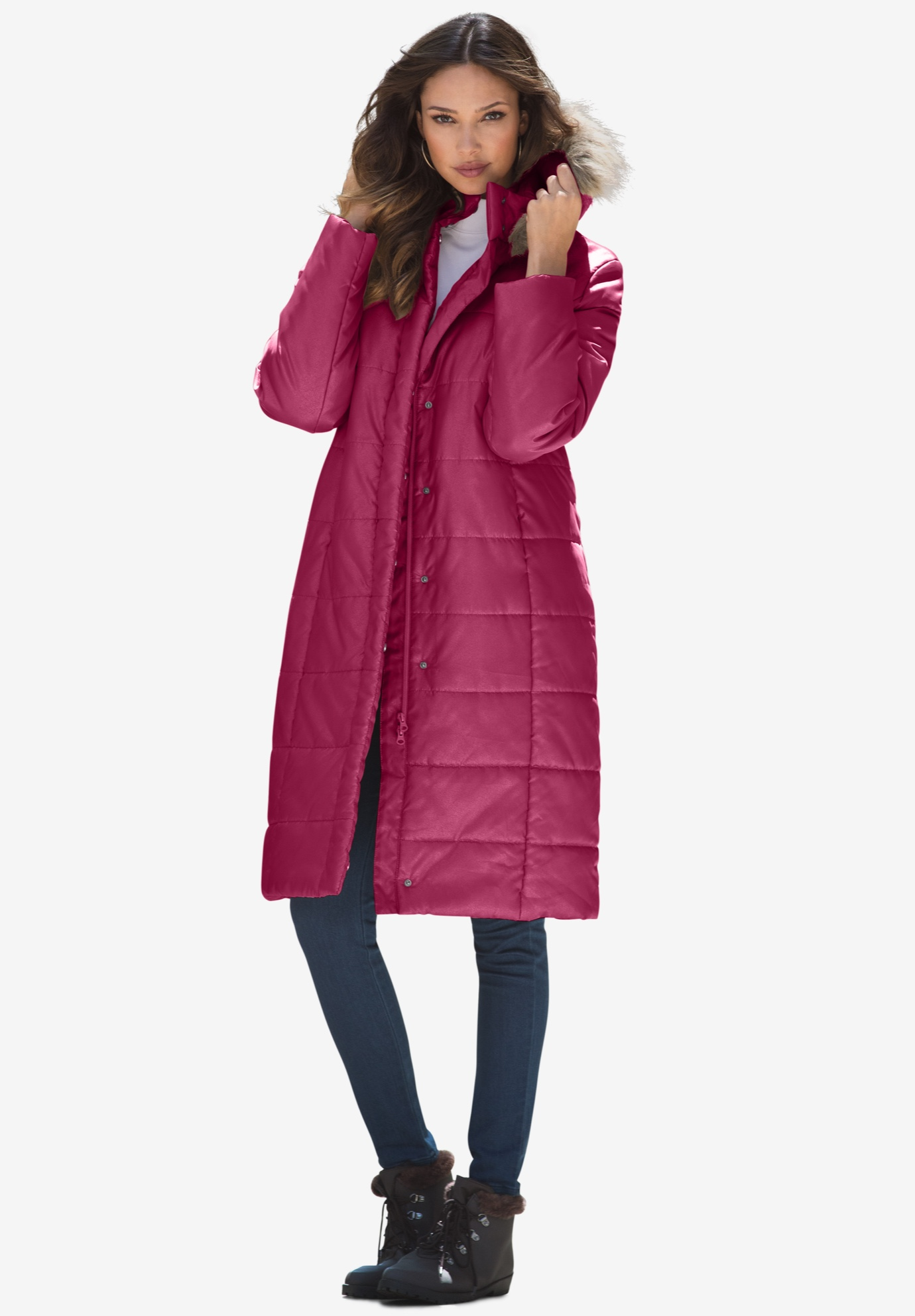 Mid-Length Quilted Parka with Hood,