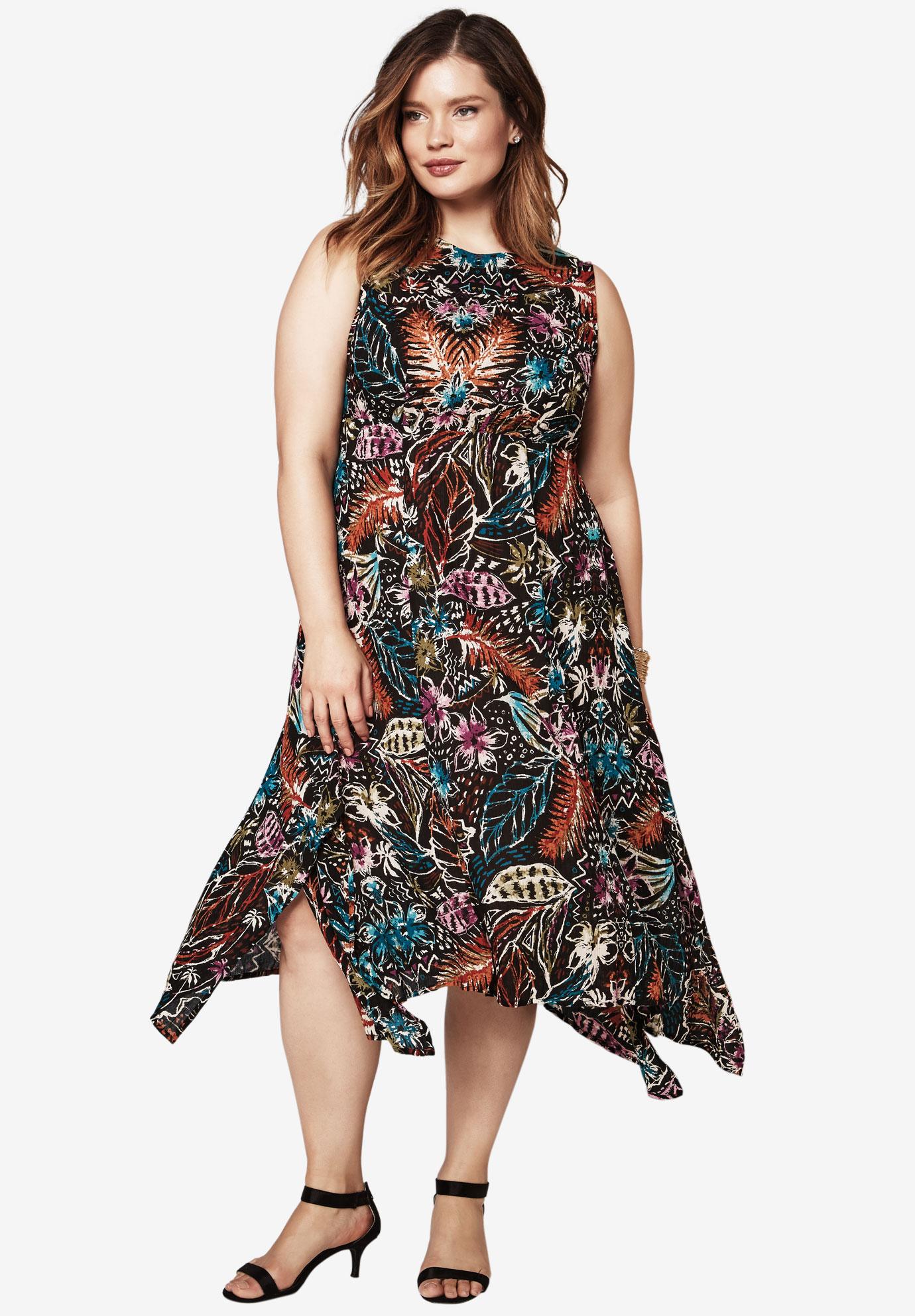 Handkerchief Crinkle Dress Plus Size Dresses Roamans
