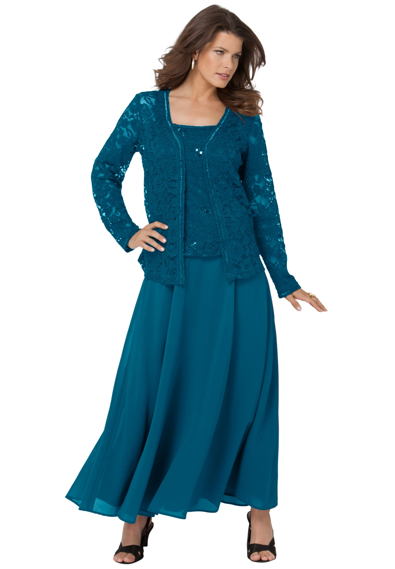 Beaded Lace Jacket Dress Plus Size Dresses Roamans