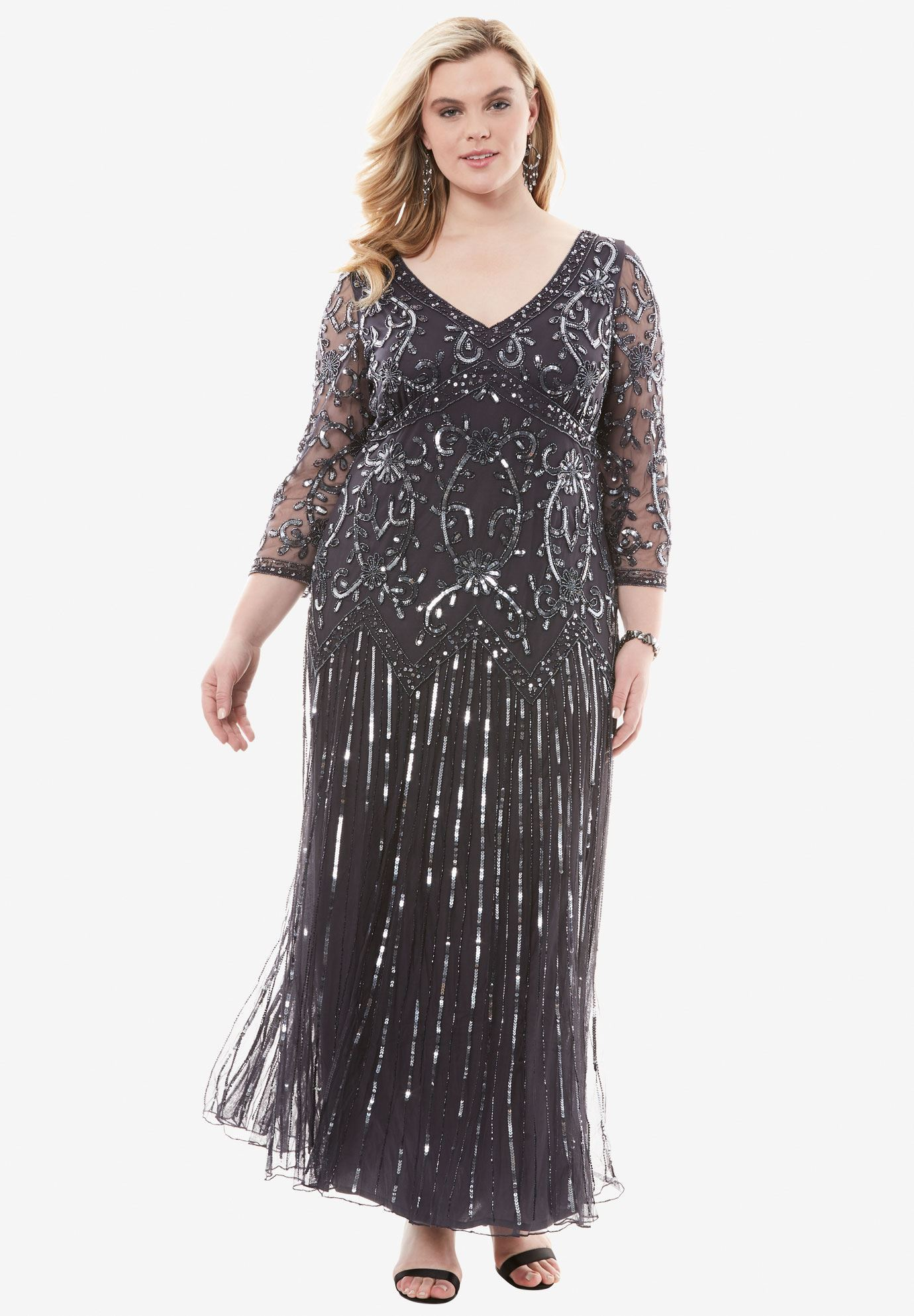 Beaded V-neck Dress by Pisarro Nights | Plus Size Evening Dresses ...