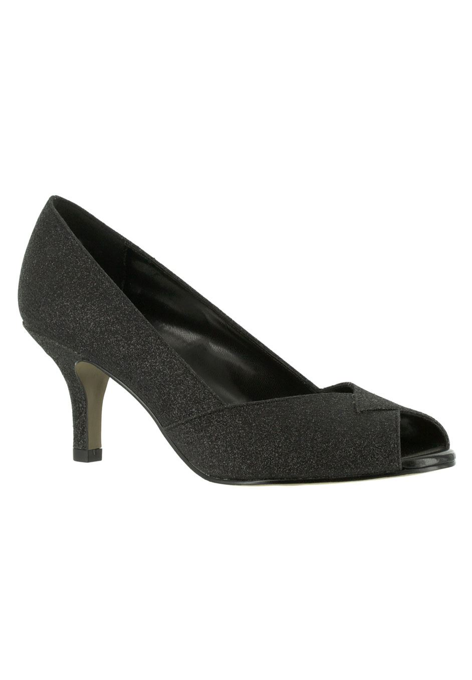 Ravish Peep-Toe Pump by Easy Street®, BLACK GLITTER, hi-res