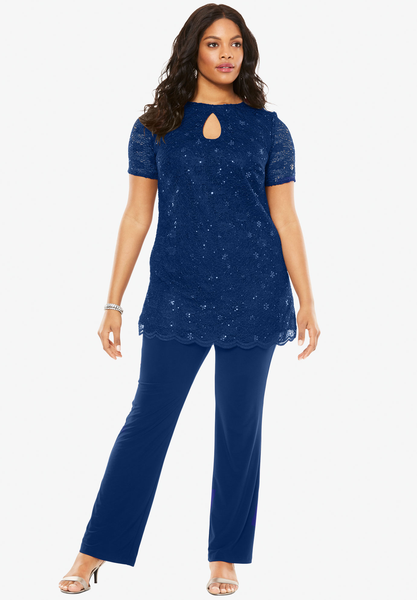 Clearance dresses and suits for plus size women roamans sequin pantsuit ombrellifo Choice Image