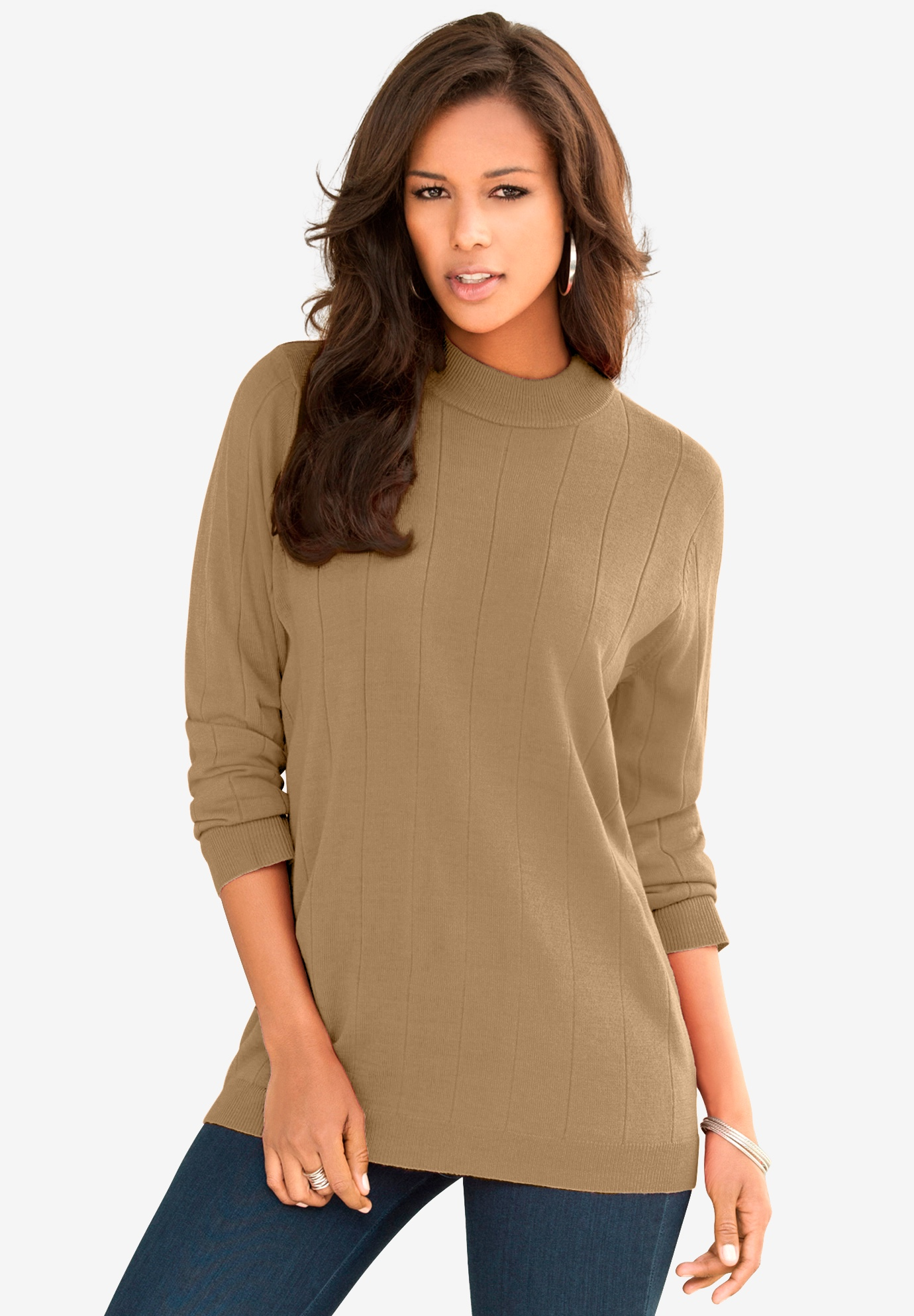Fine Gauge Drop Needle Mockneck Sweater,