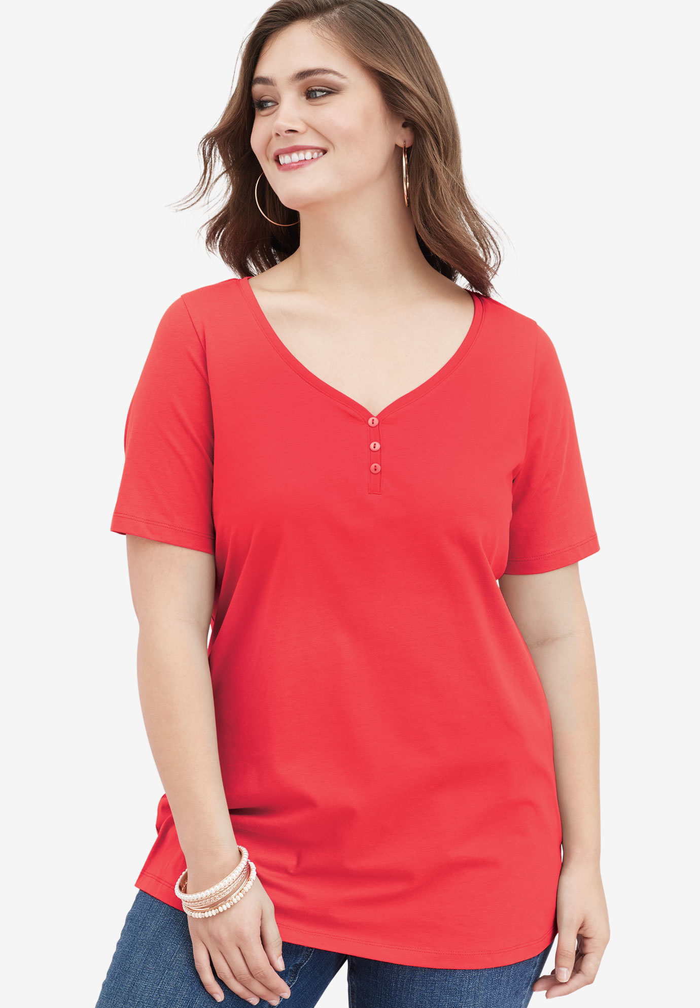 Ultimate Sweetheart Neck Tee, CORAL RED, hi-res