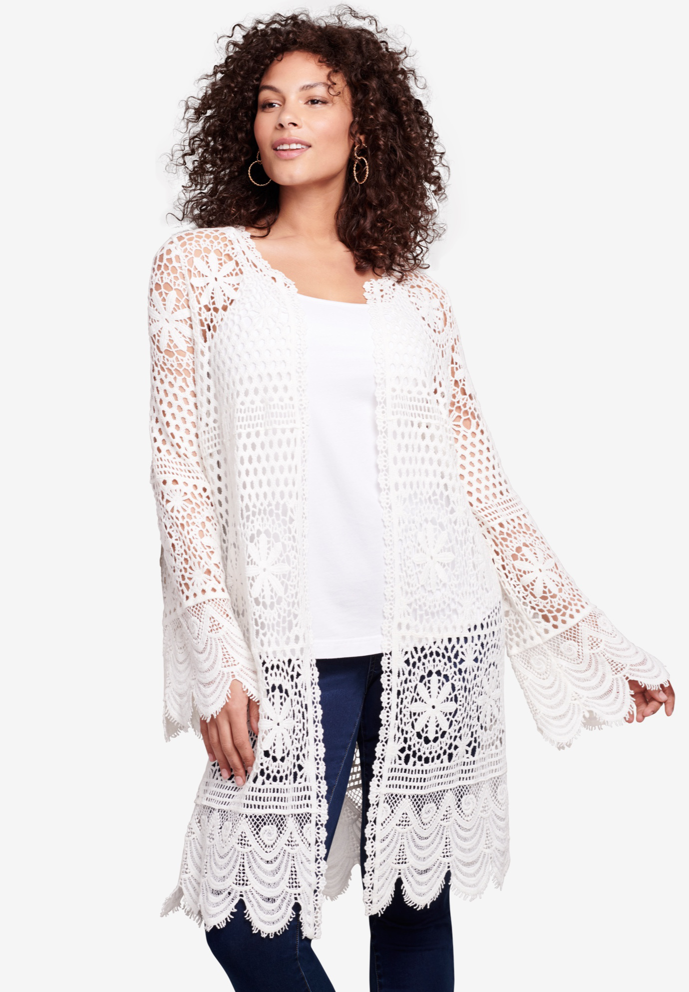Floral-Lace Crochet Duster,