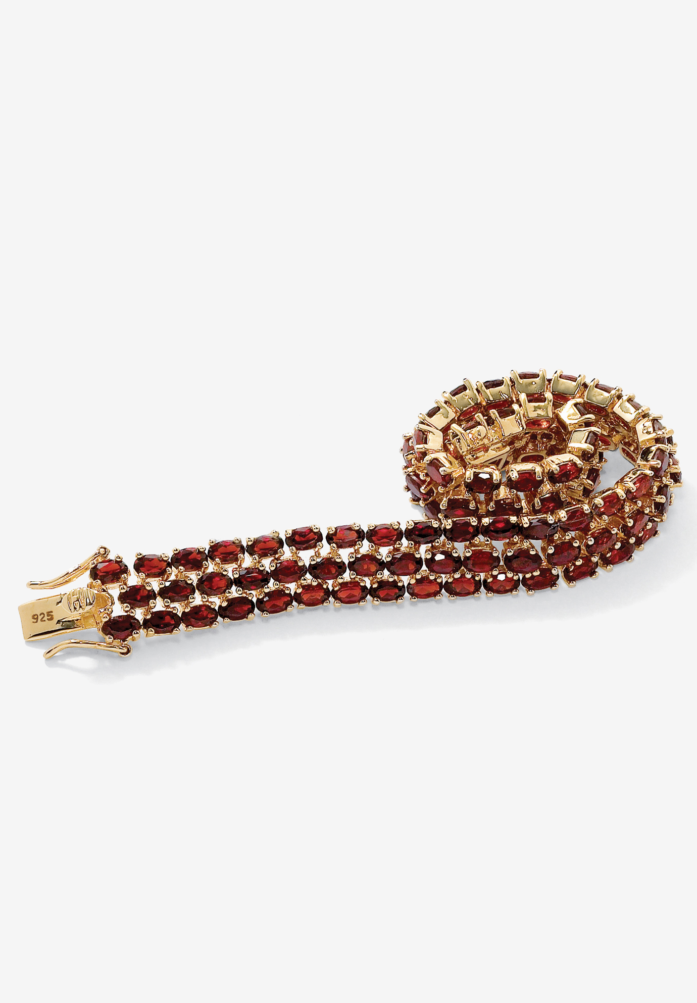 Gold & Silver Tennis Bracelet with Oval Garnet, GOLD