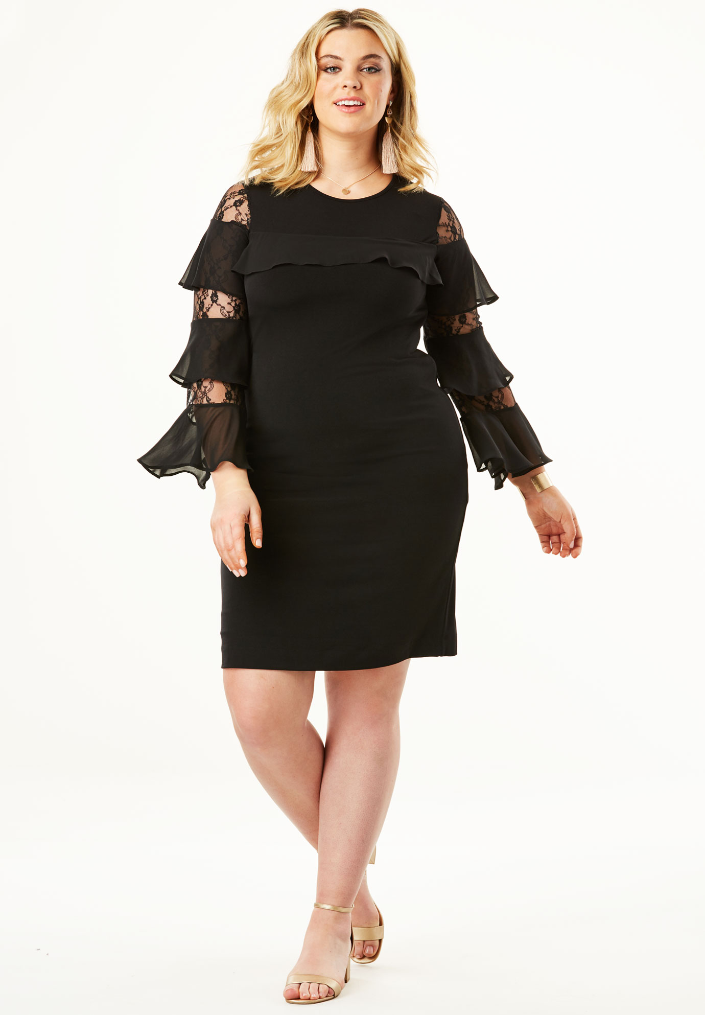 A-line Dress with Illusion Bell Sleeves,
