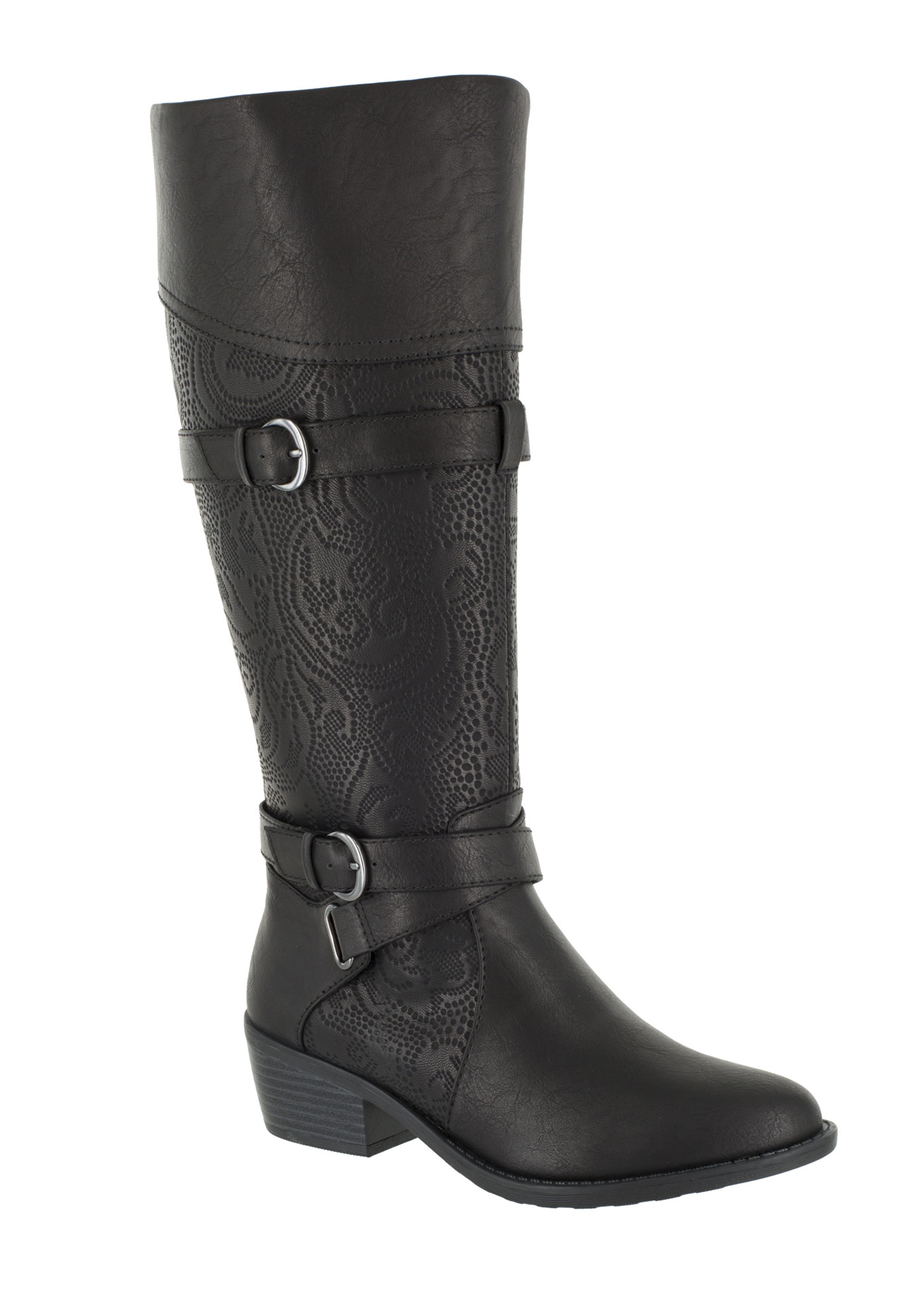 Kelsa Plus Wide Calf Boots by Easy Street®, BLACK E, hi-res