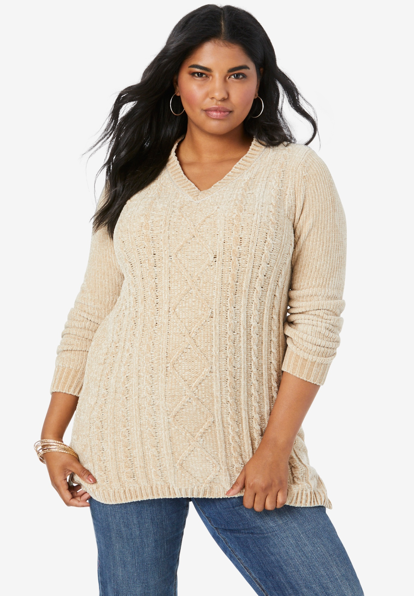 Chenille V-Neck Sweater,