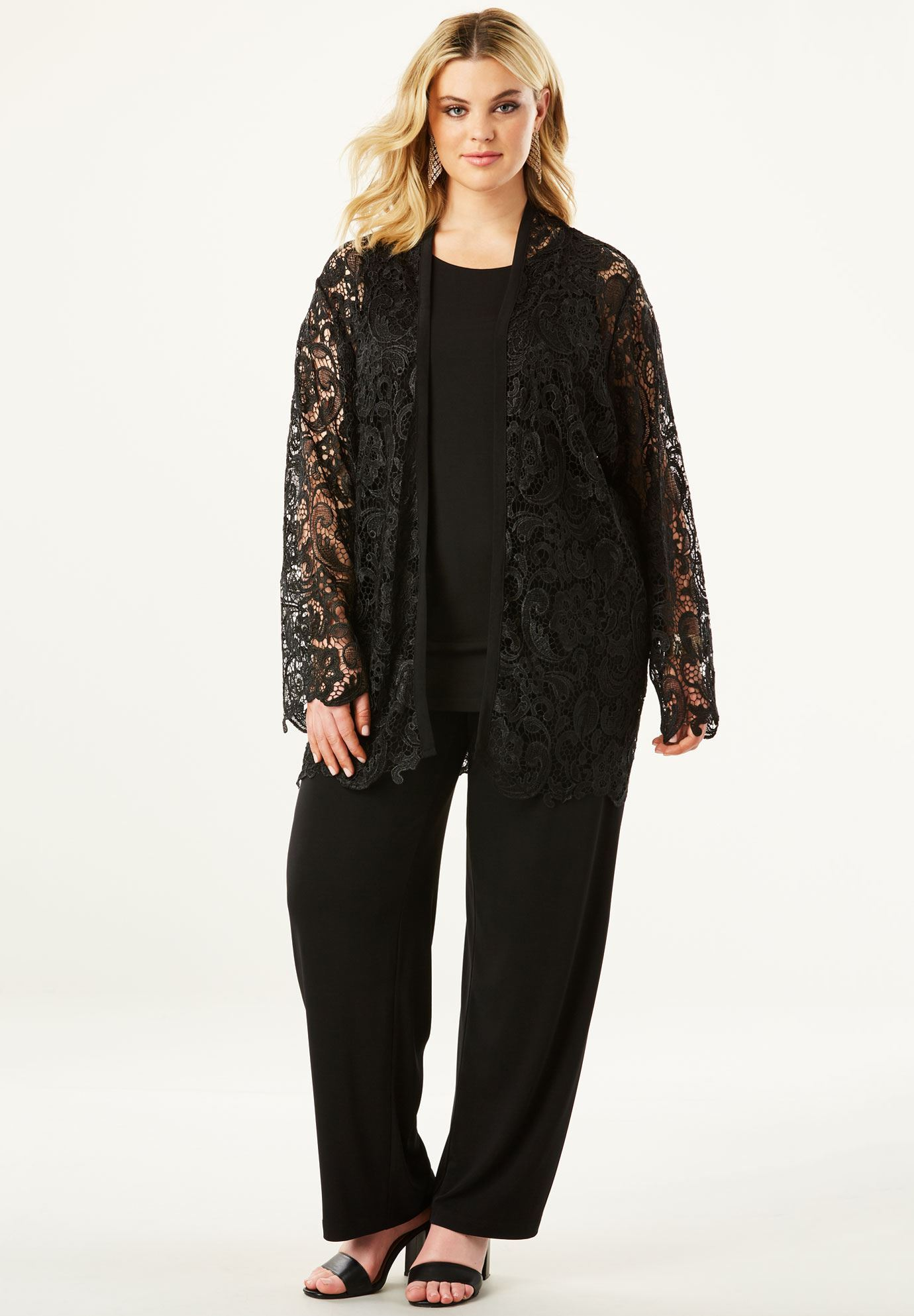 3-Piece Pant Set with Lace Jacket,