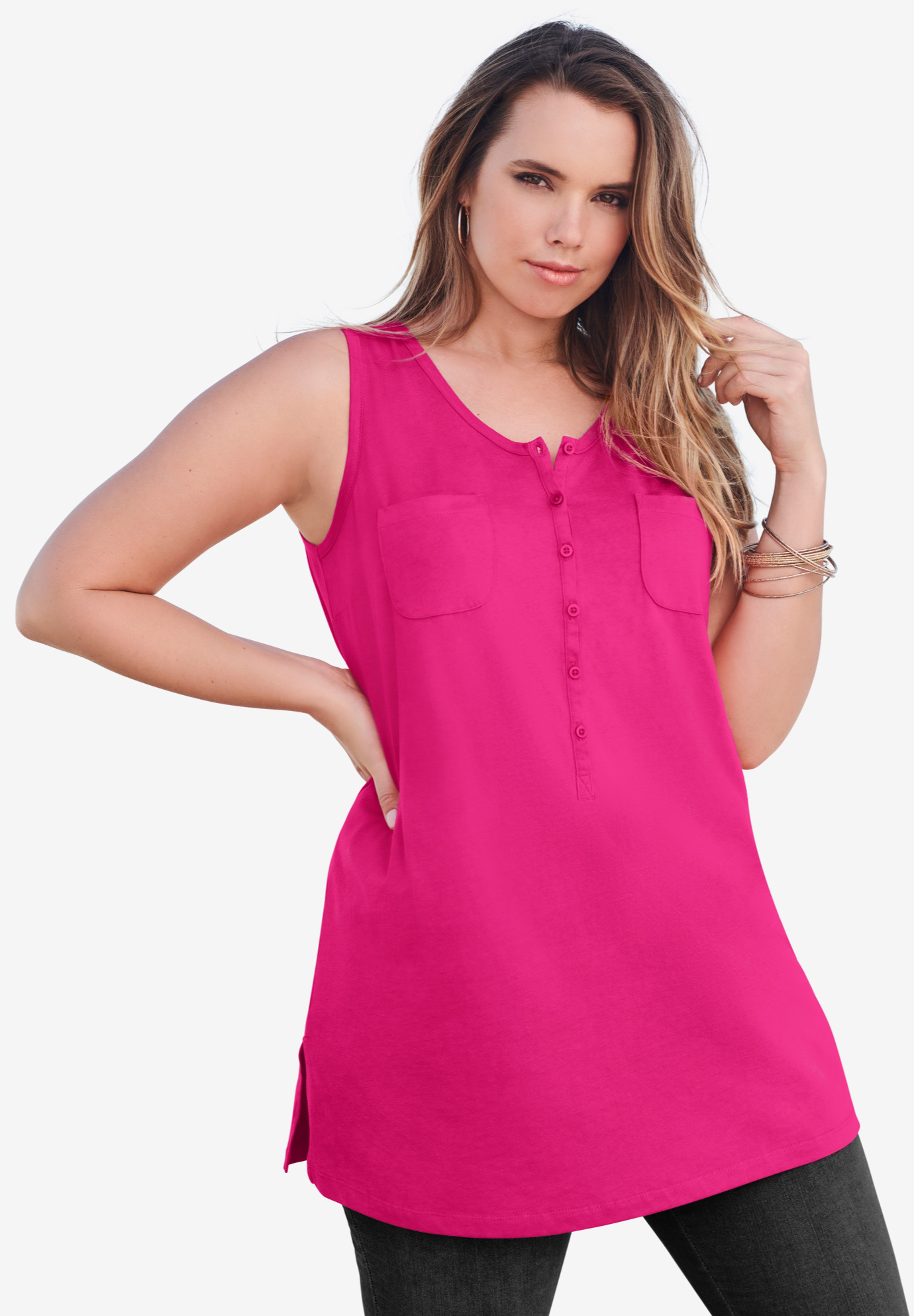 Button-Front Henley Ultimate Tunic Tank,