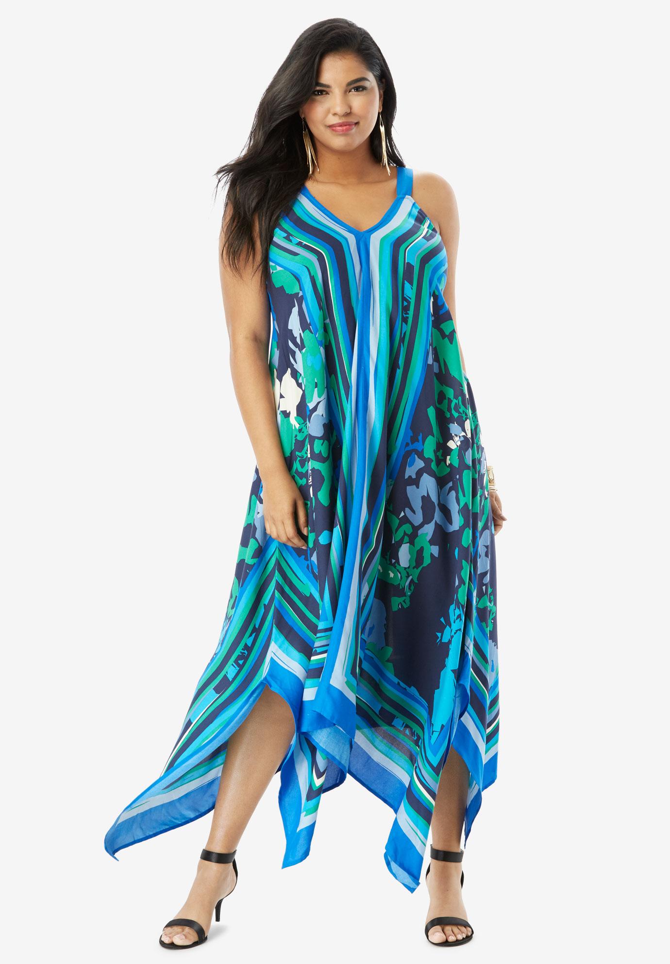 b49ddceab1 Scarf-Print Maxi Dress with Handkerchief Hem