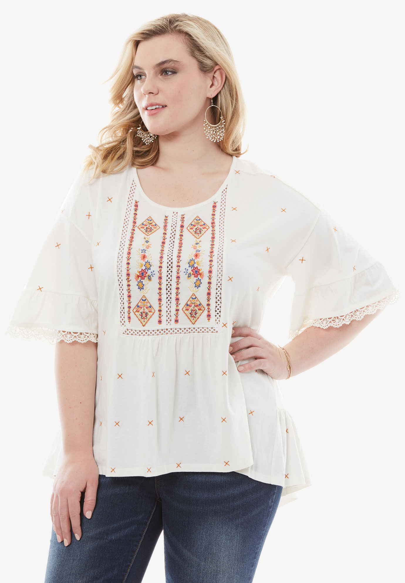 Embroidered Trapeze Top,