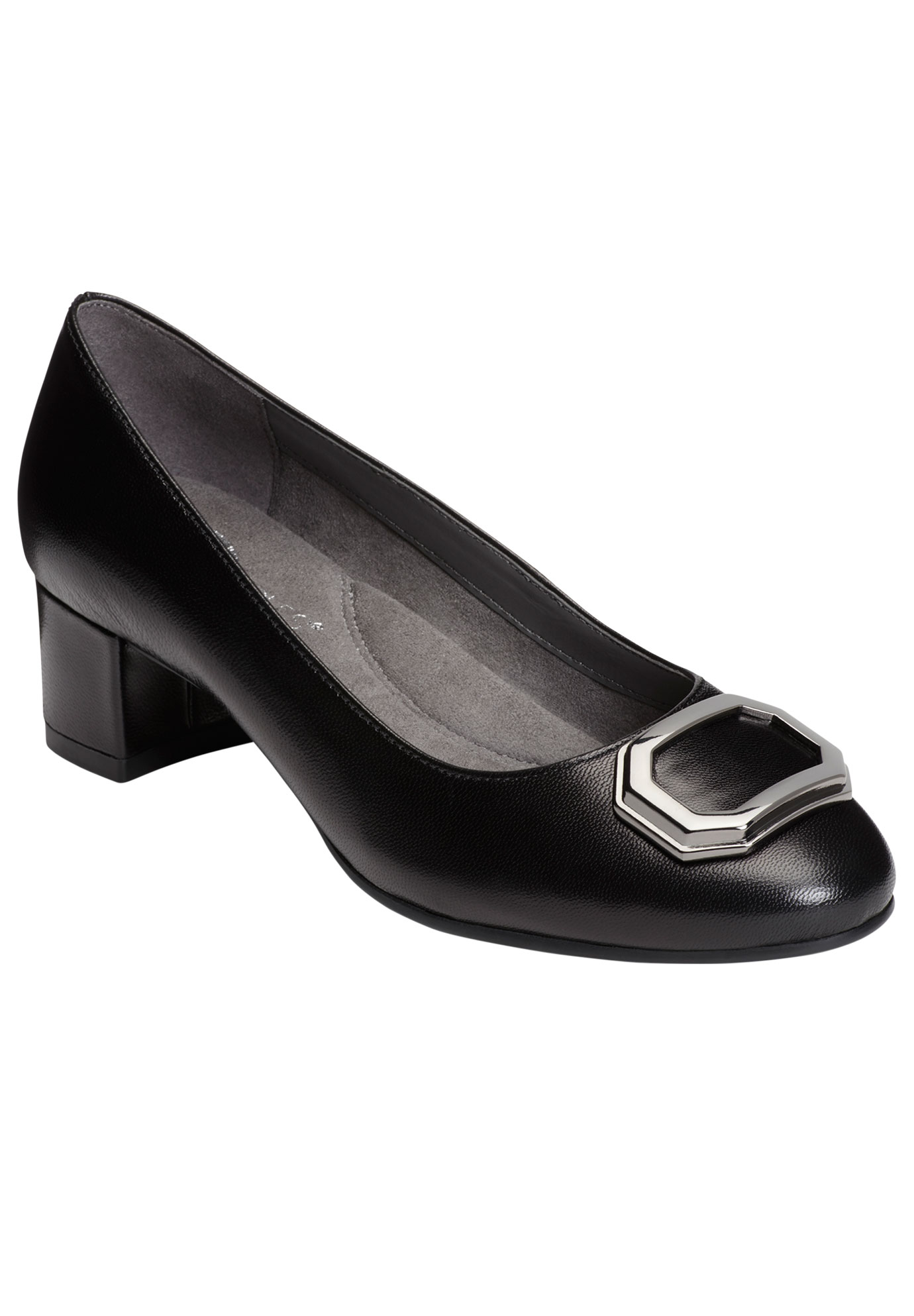 Compadre Pumps by Aerosoles®, BLACK LEATHER, hi-res