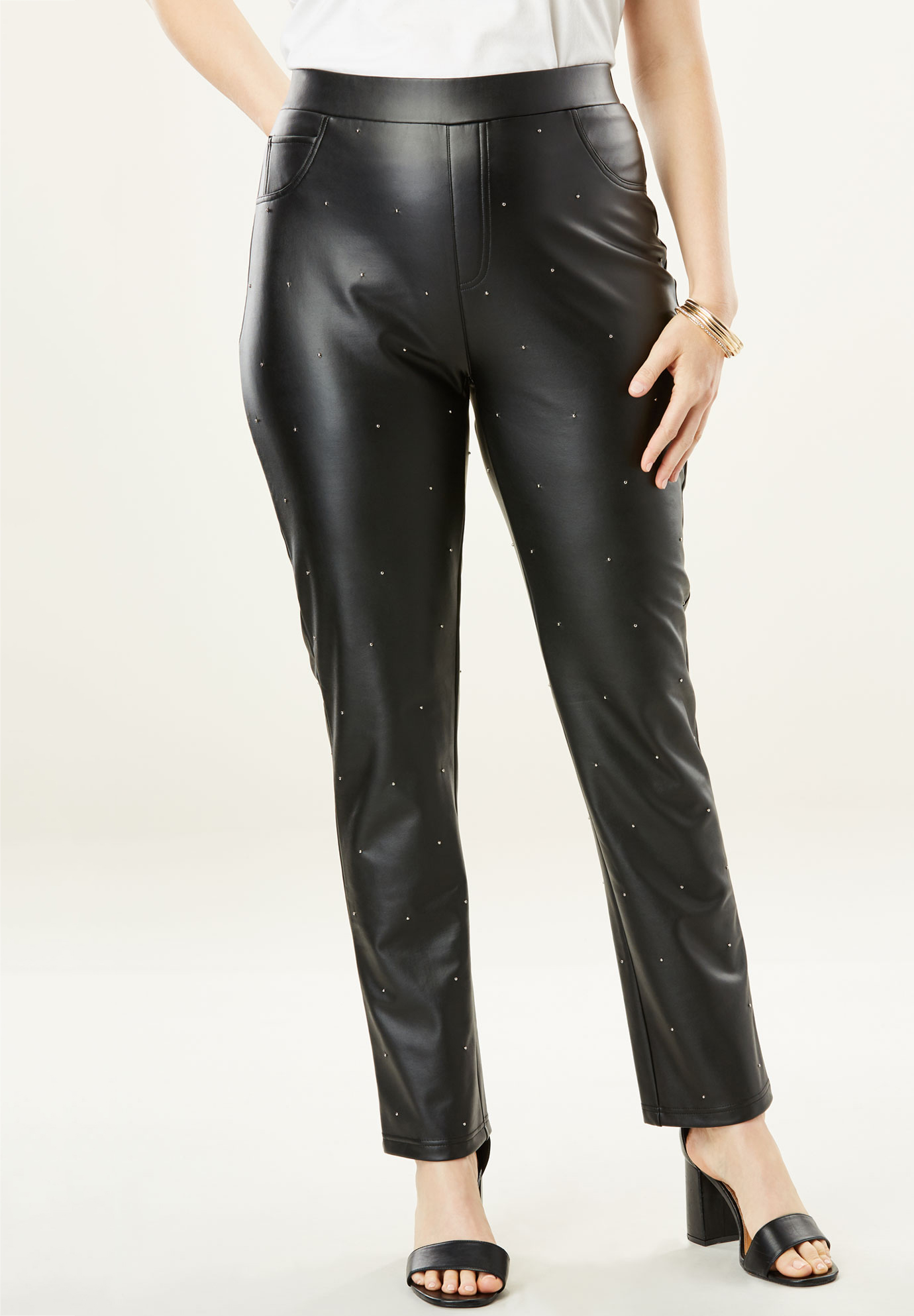 Embellished Faux Leather Pant,