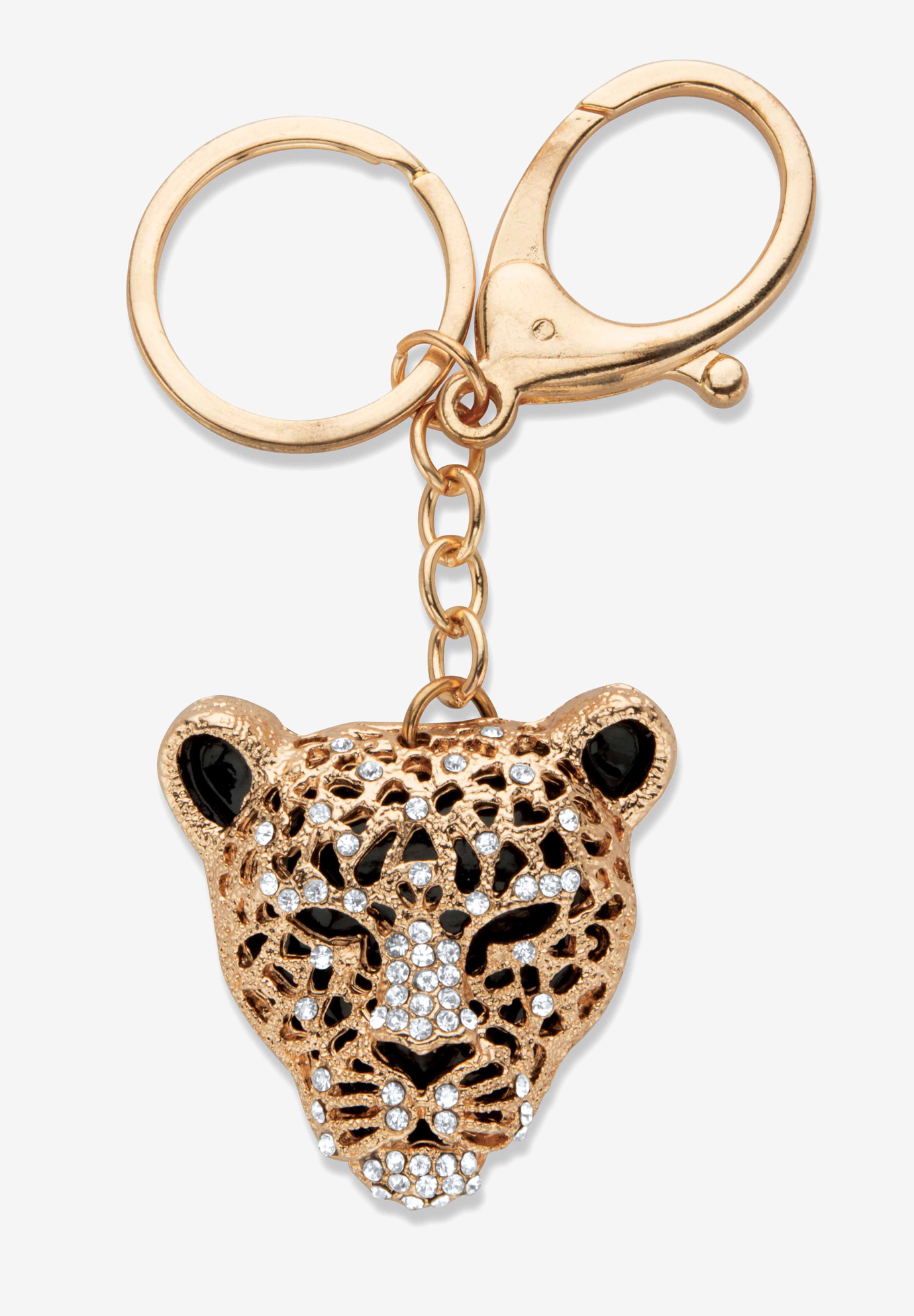Goldtone and Enamel Round Crystal Leopard Cat Key Ring, CRYSTAL GOLD