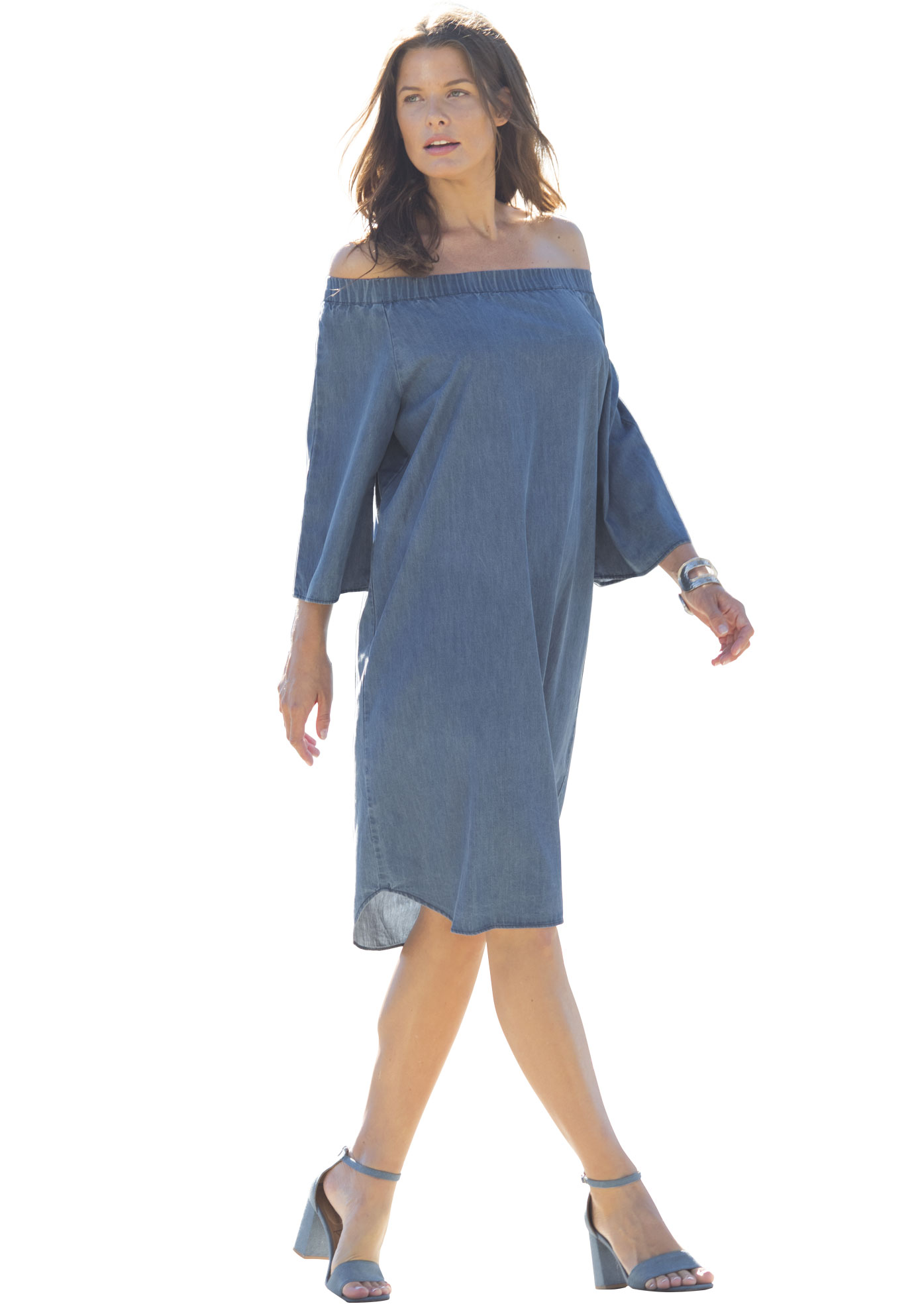 Off-The-Shoulder Shift Dress, MEDIUM STONEWASH, hi-res