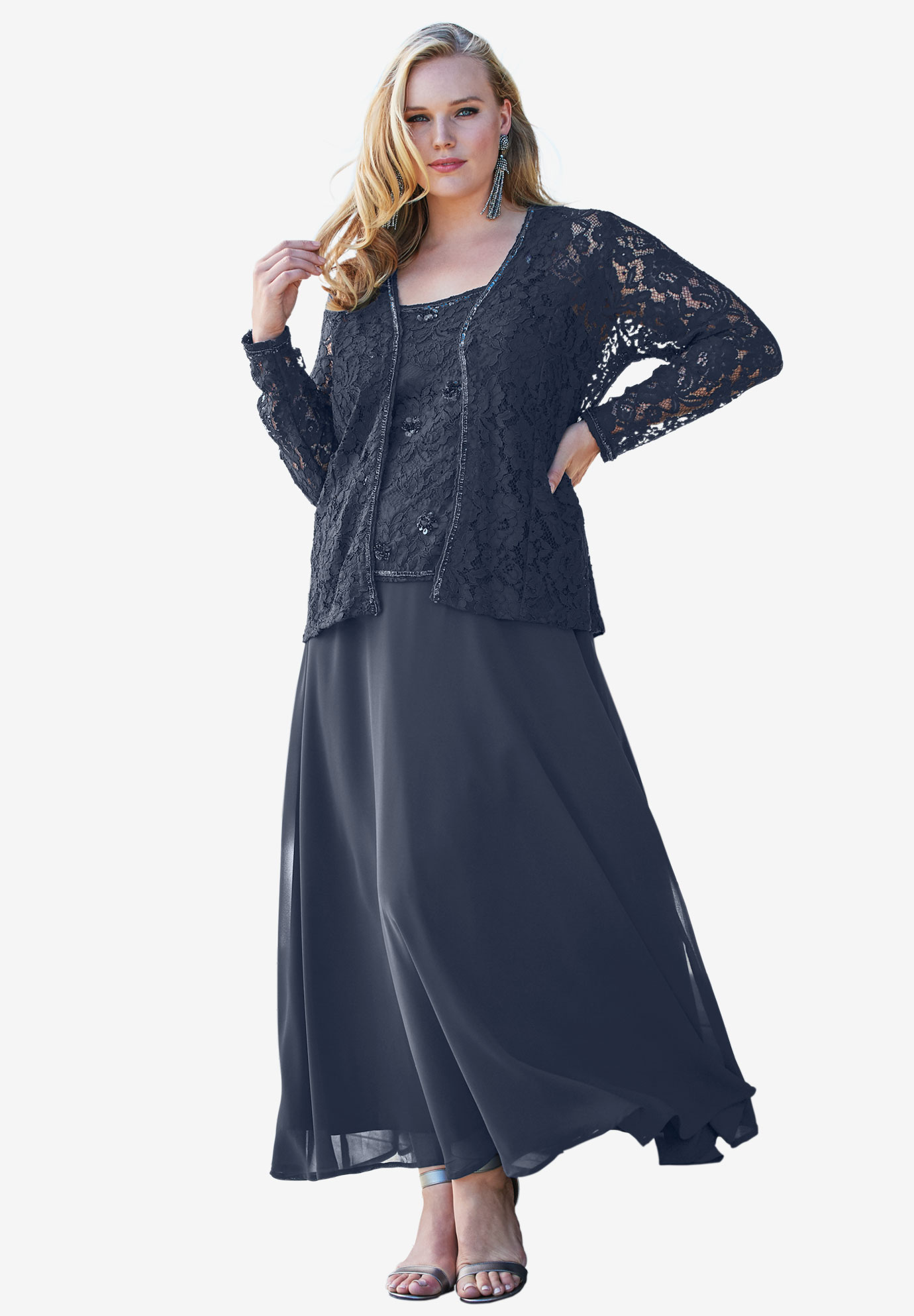 beaded lace jacket dress | plus size evening dresses | roaman's