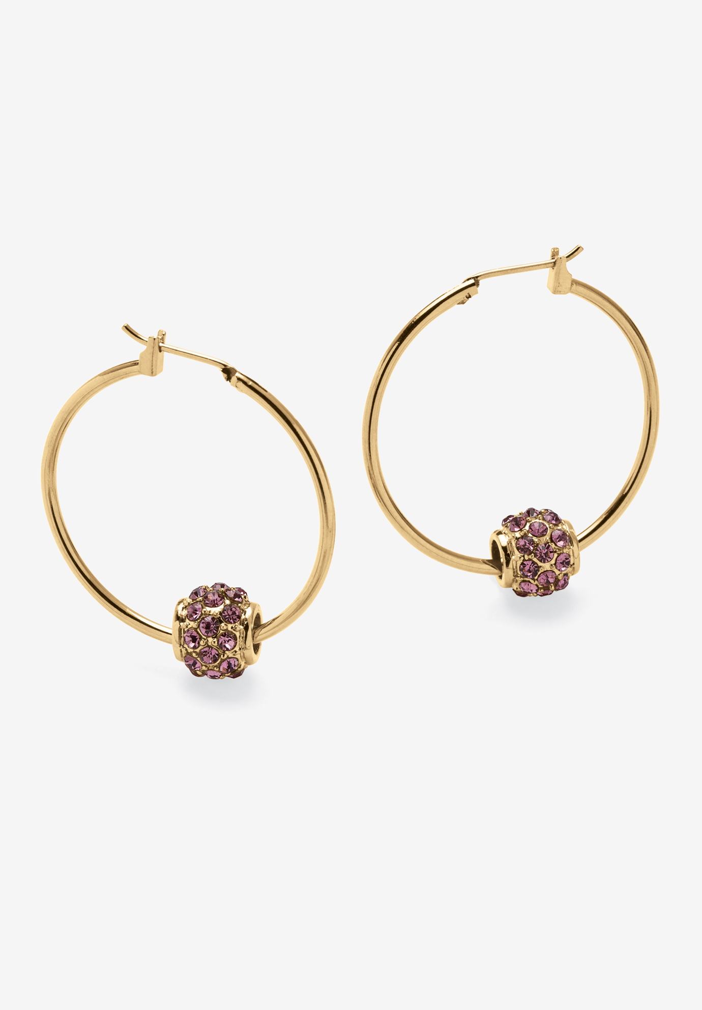 Goldtone Charm Hoop Earrings (32mm) Round Simulated Birthstone,