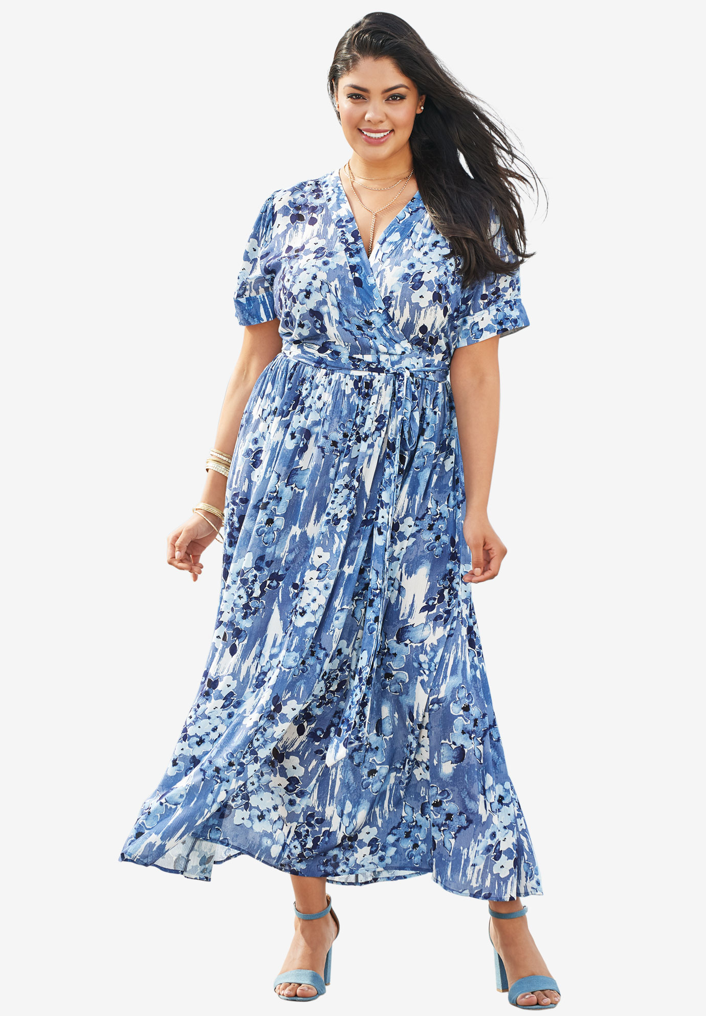 Maxi Wrap Dress, DARK BLUE FLORAL PRINT, hi-res