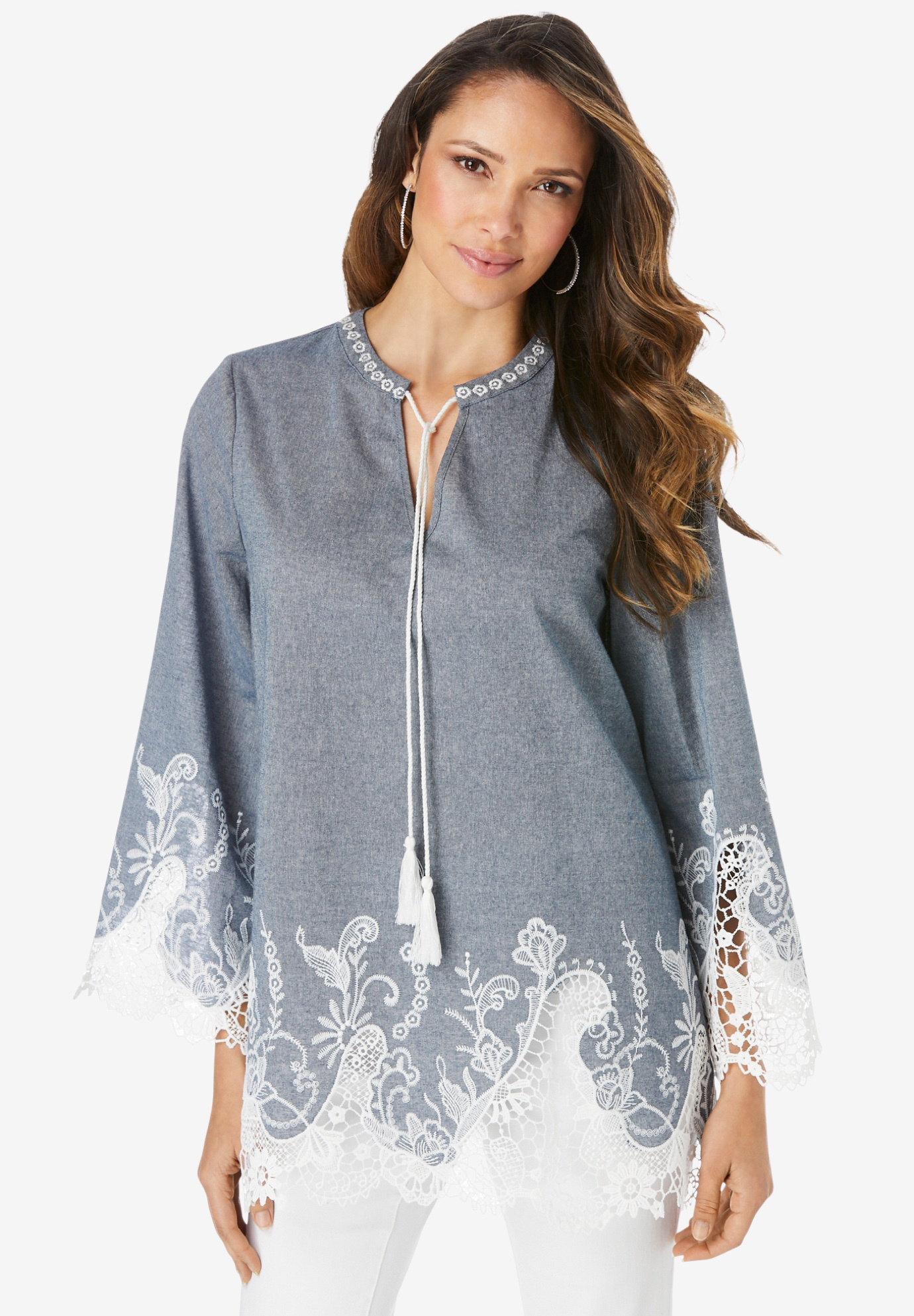 Lace Chambray Tunic,