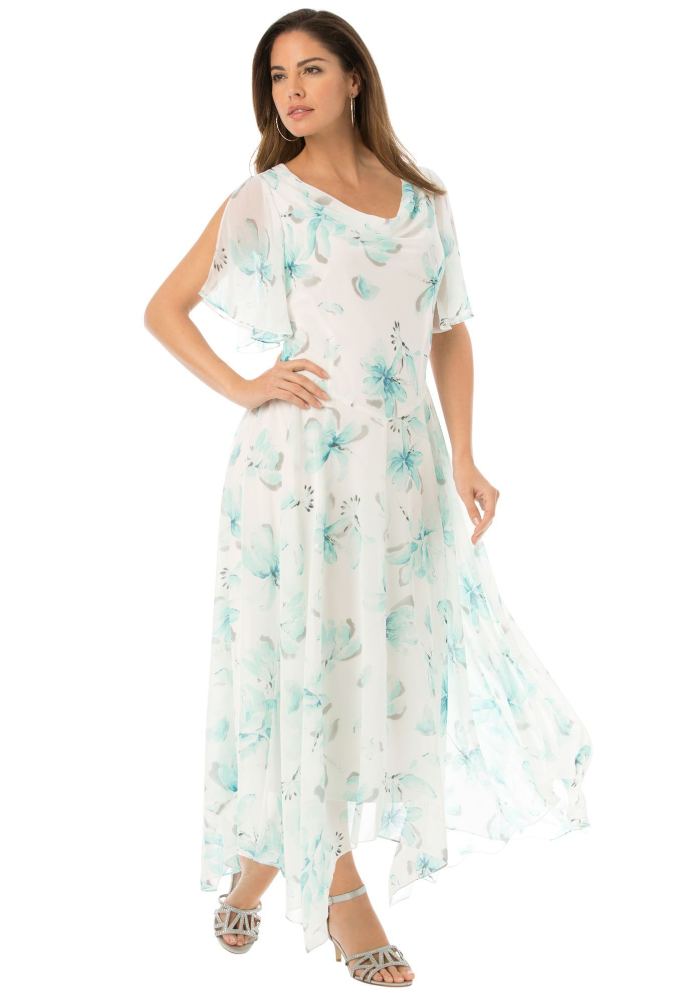 Floral Beaded Fit-And-Flare Gown   Plus Size Dresses   Roaman\'s