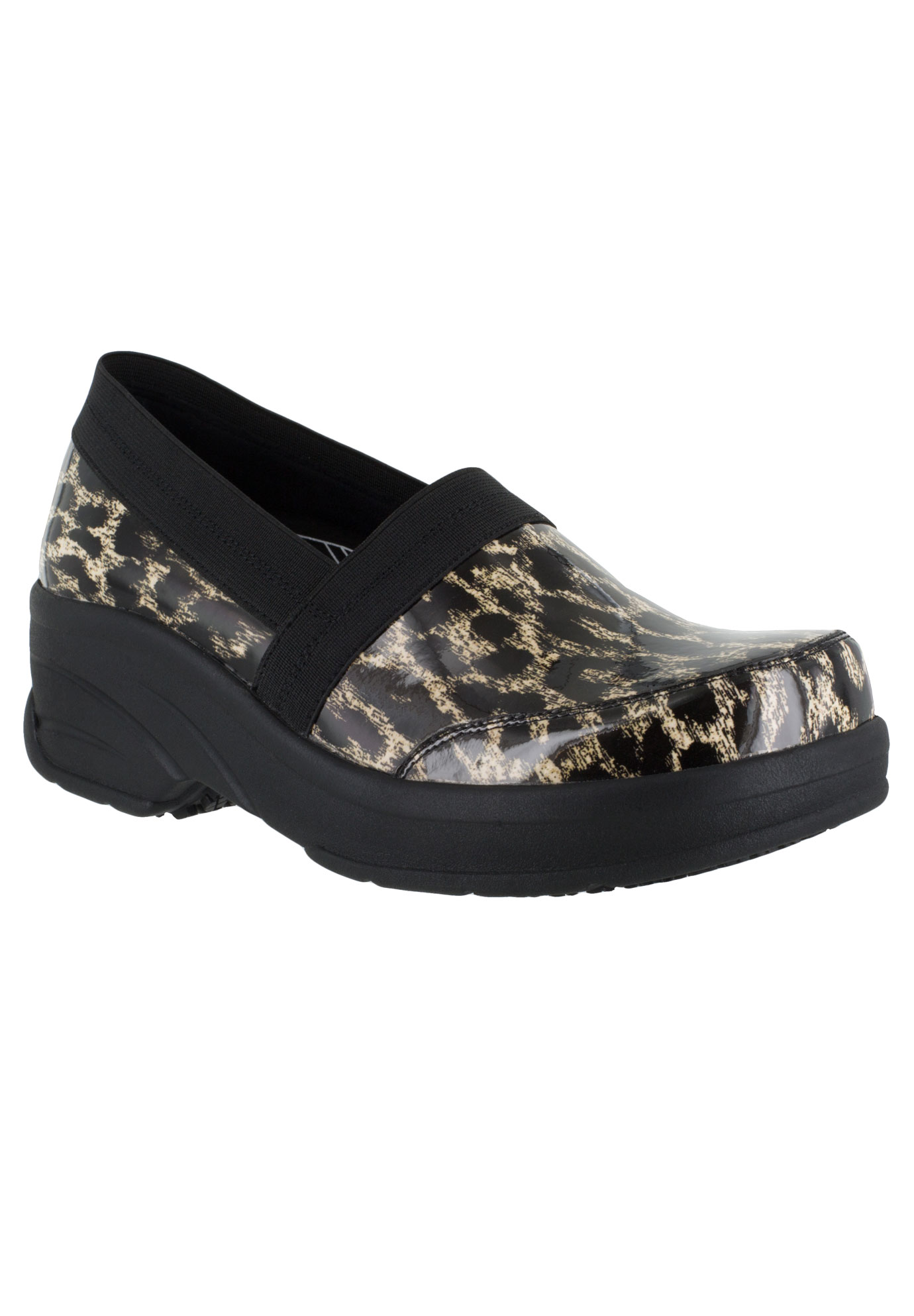 Attend Slip-Ons by Easy Works by Easy Street®, BEIGE LEOPARD BLACK, hi-res