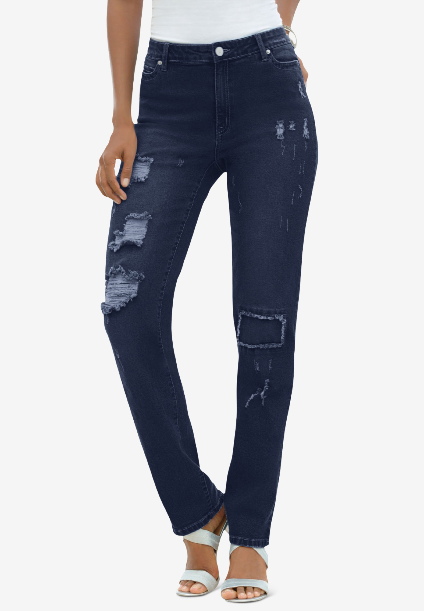 Distressed Jean with Invisible Stretch® by Denim 24/7®,