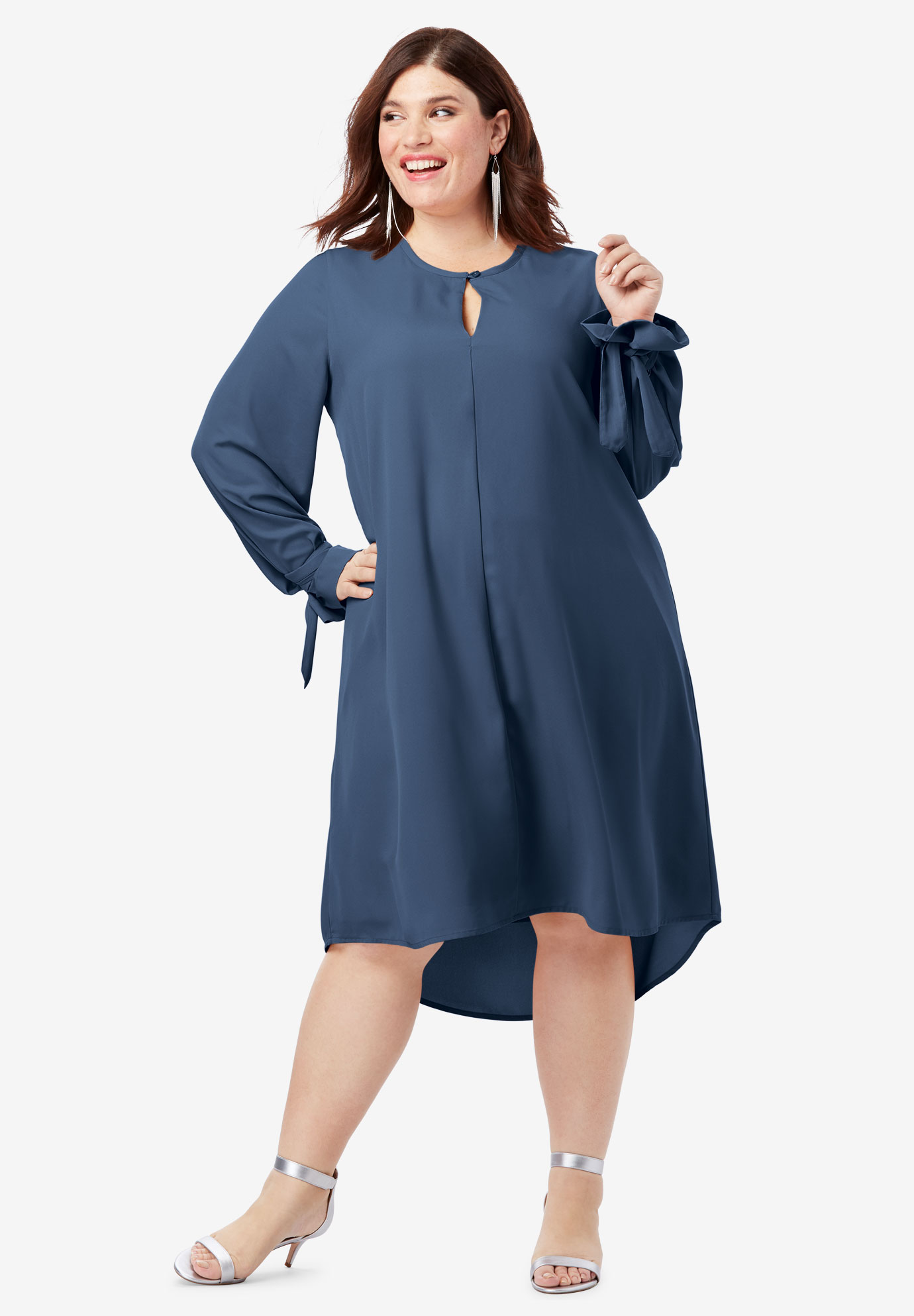Tie-Sleeve Trapeze Dress with High-Low Hem,