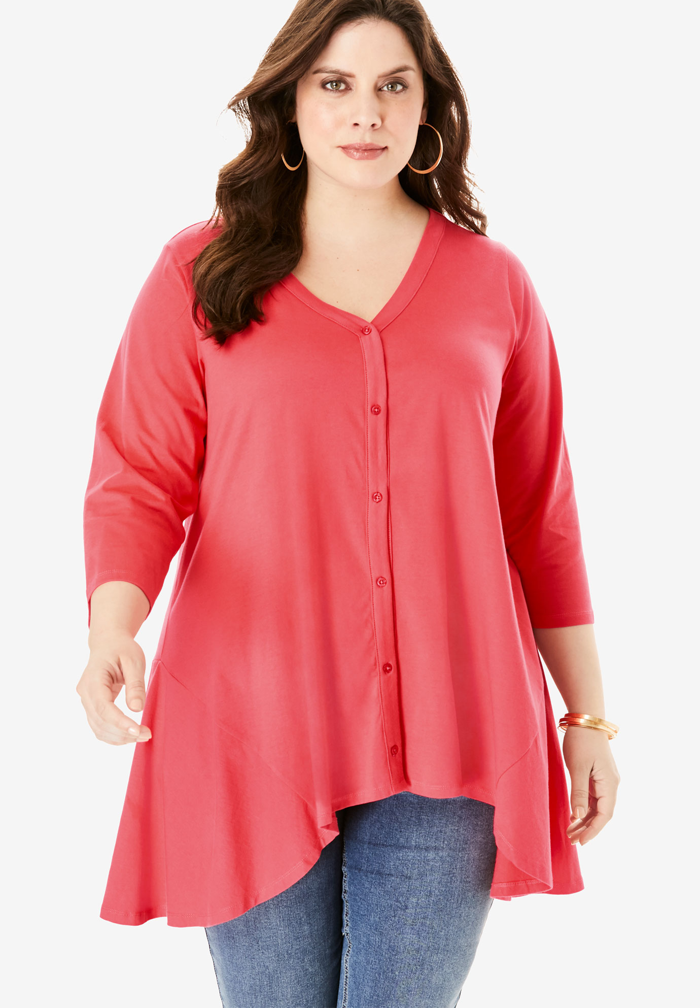 Button-Front Ultimate Tunic,