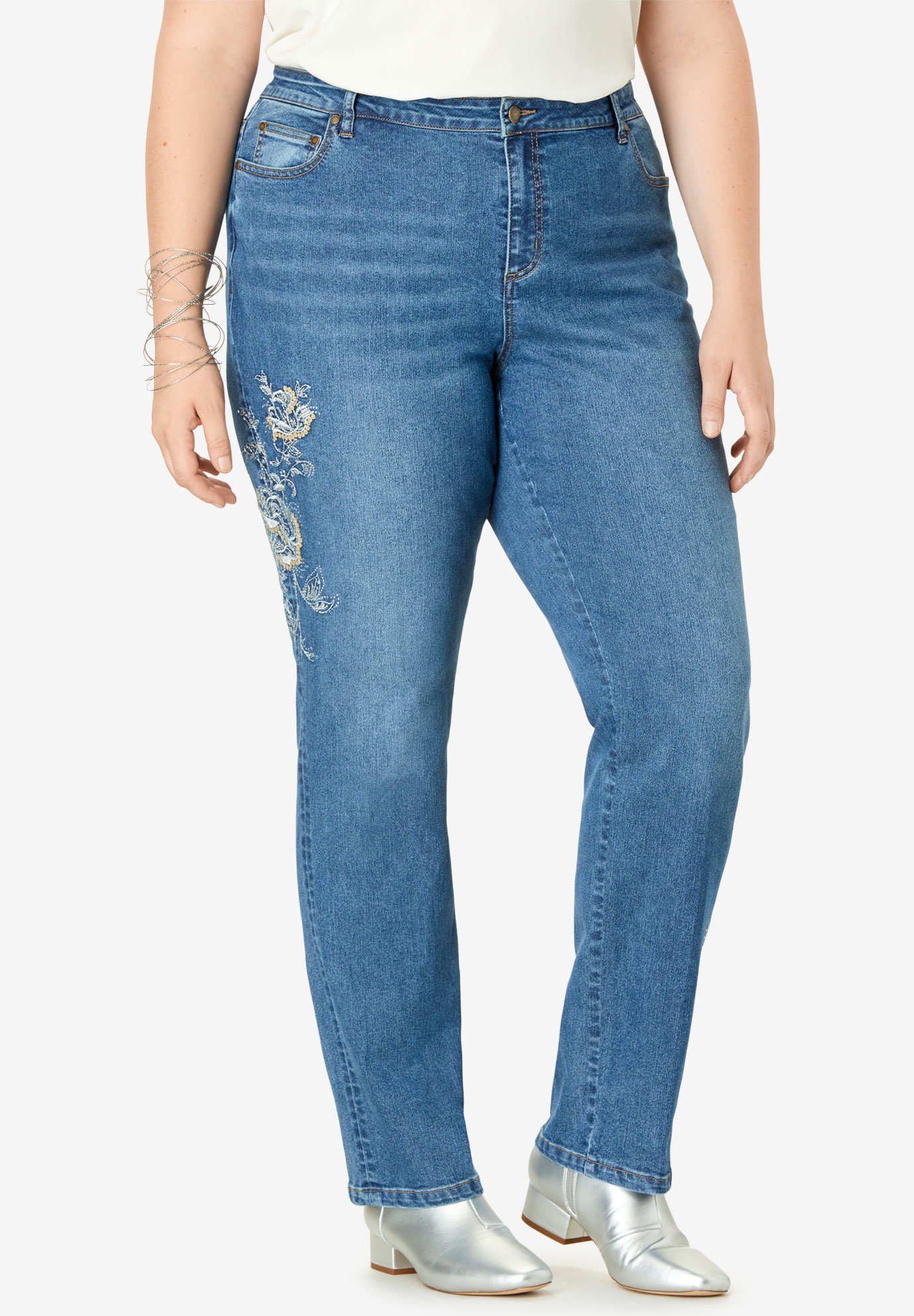 Metallic Embroidered Jean with Sequin Embellishment,