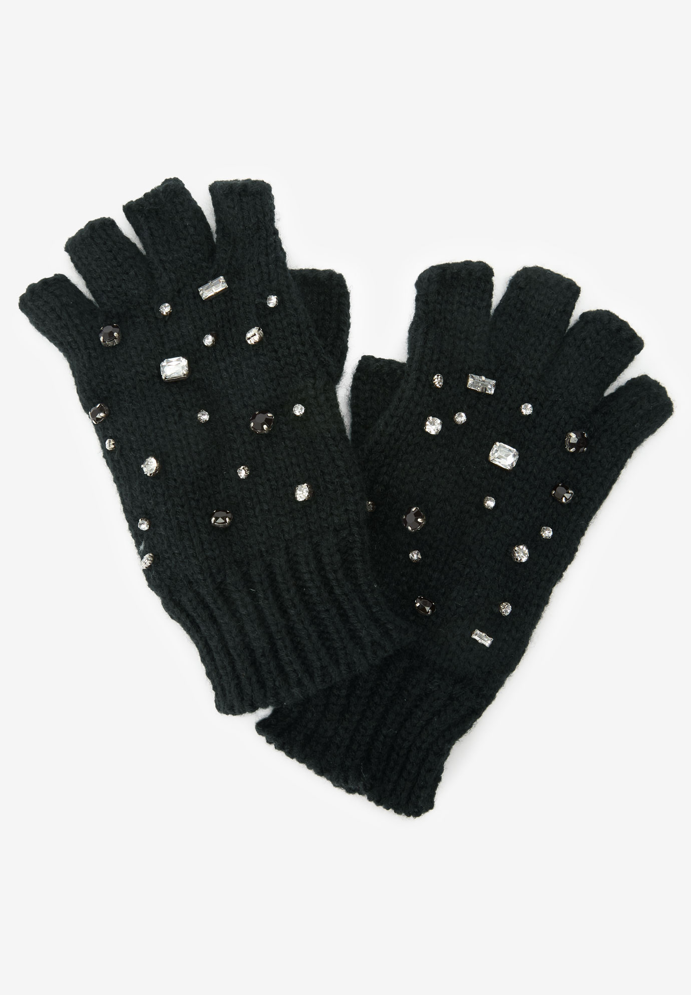 Rhinestone Studded Fingerless Gloves, BLACK