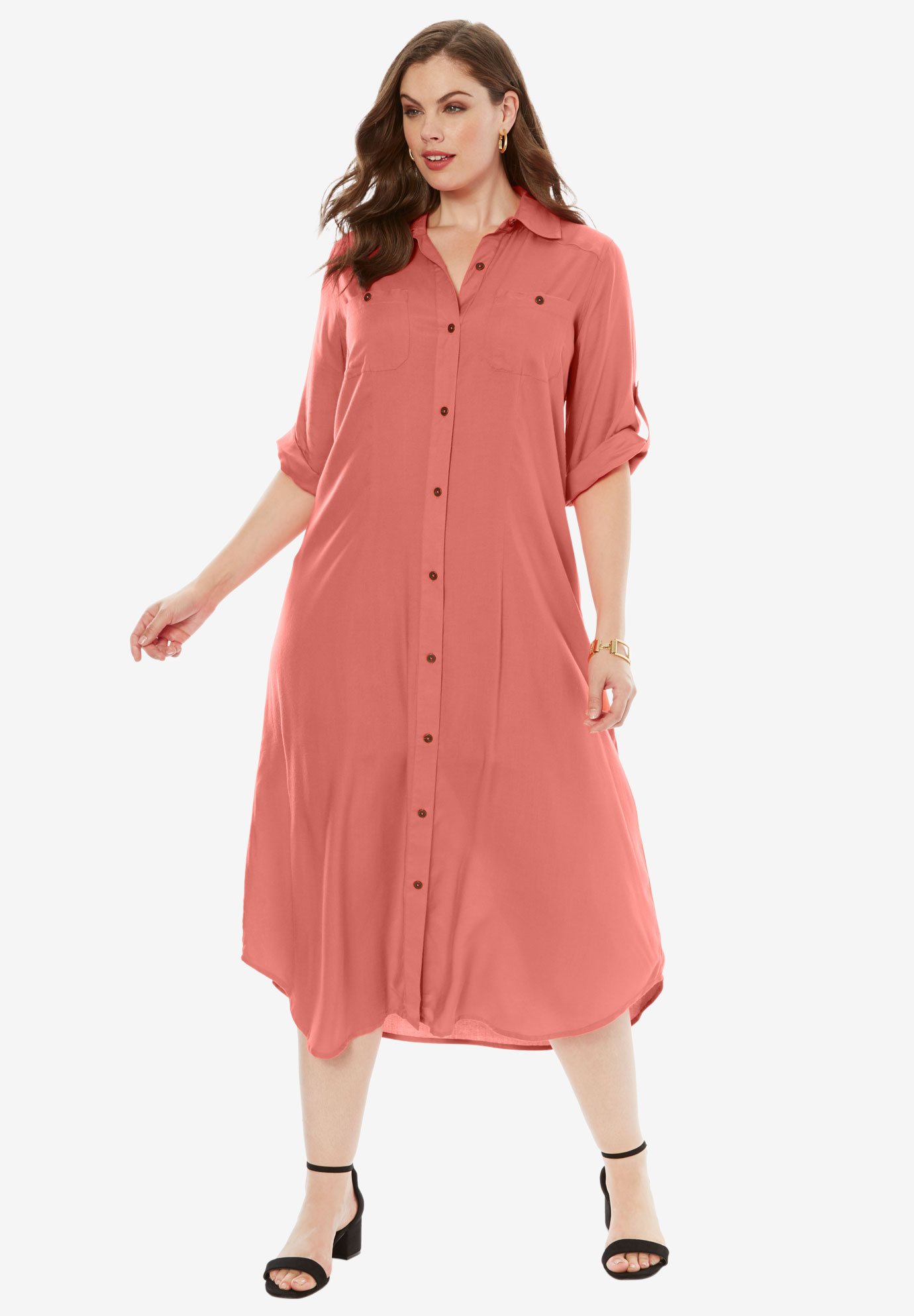Safari Dress Plus Size Casual Dresses Roamans
