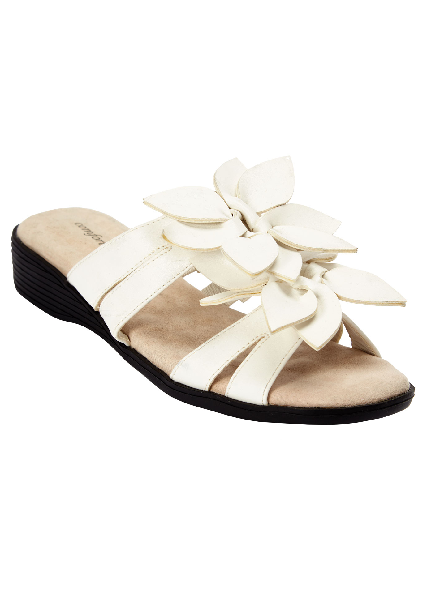Paula Flower Sandal by Comfortview® Sole Therapy®, WHITE, hi-res
