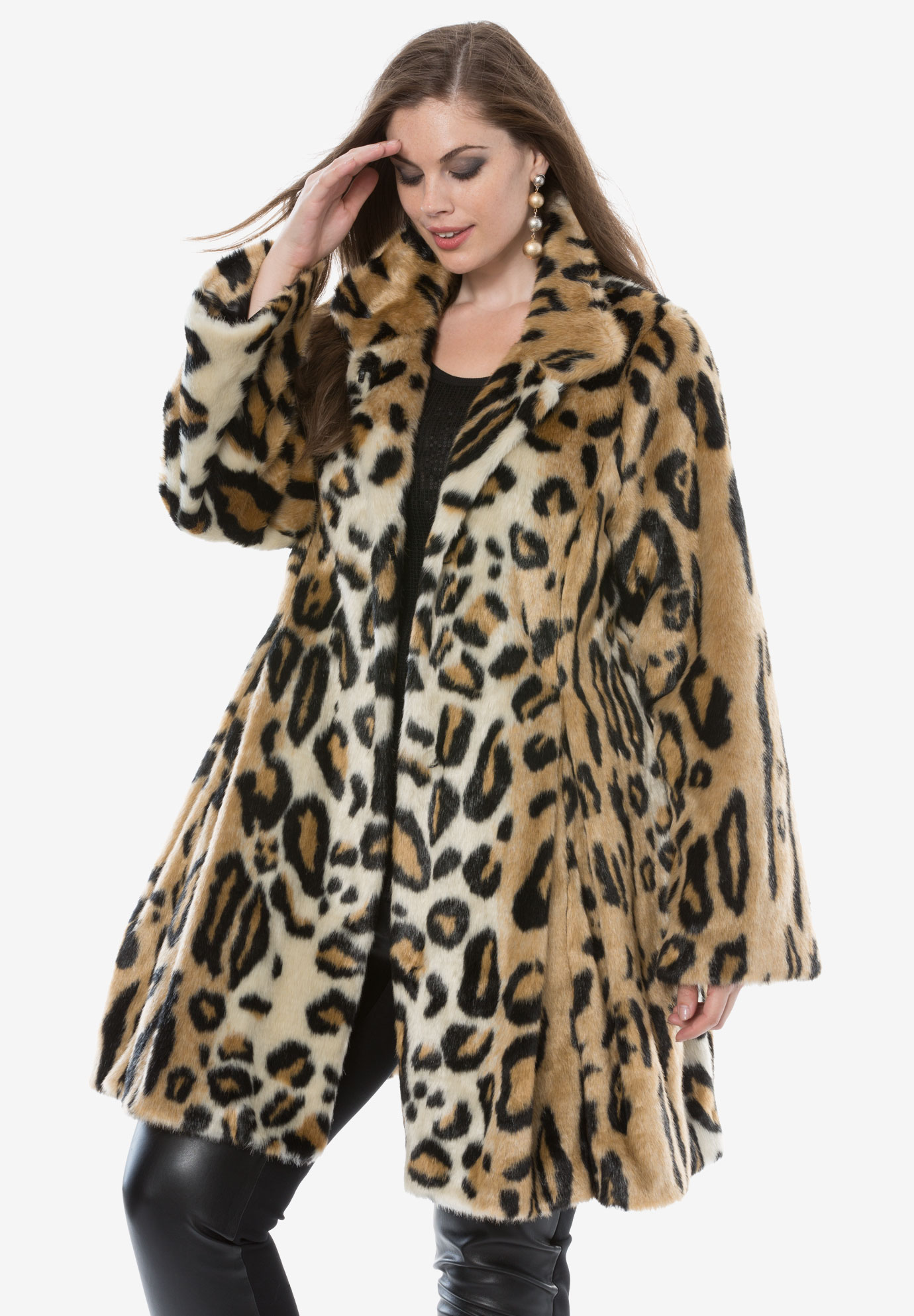 6170b7b5e07d Fit And Flare Coat by Donna Salyers Fabulous-Furs| Plus Size Leather ...