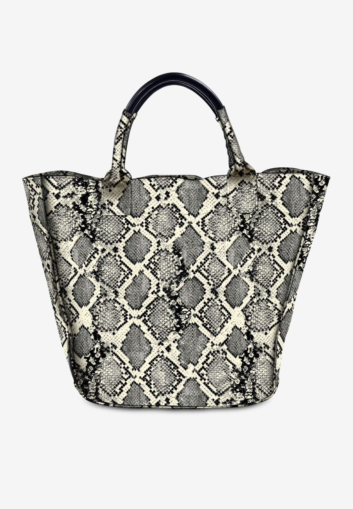 Oversized Tote Bag, IVORY SNAKE