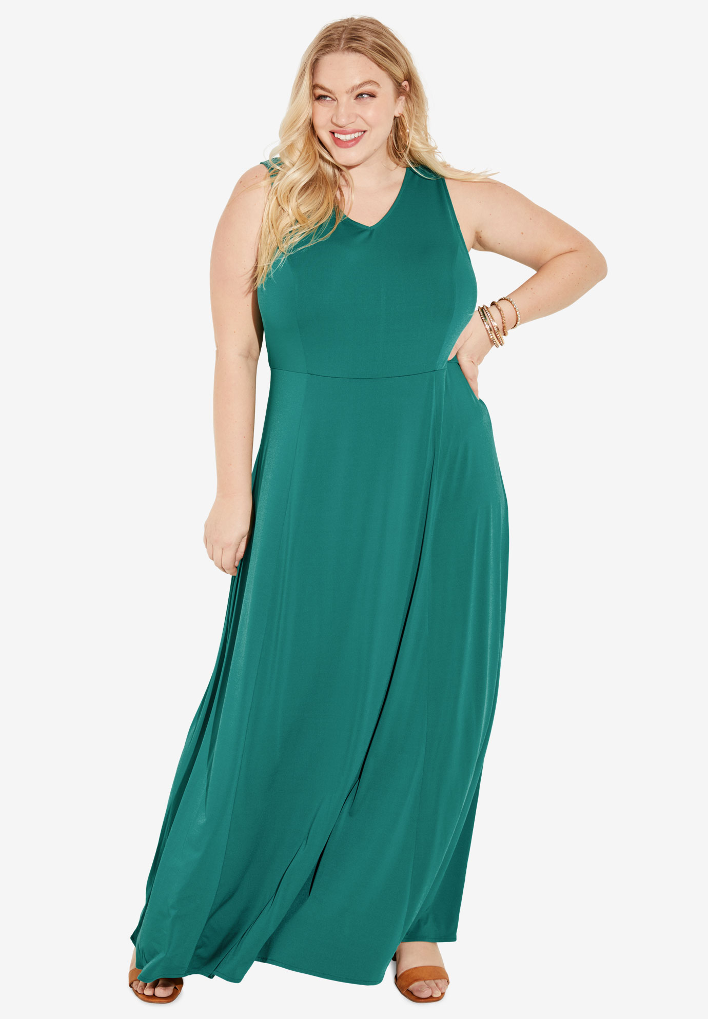 V-Neck Flared Maxi Dress,