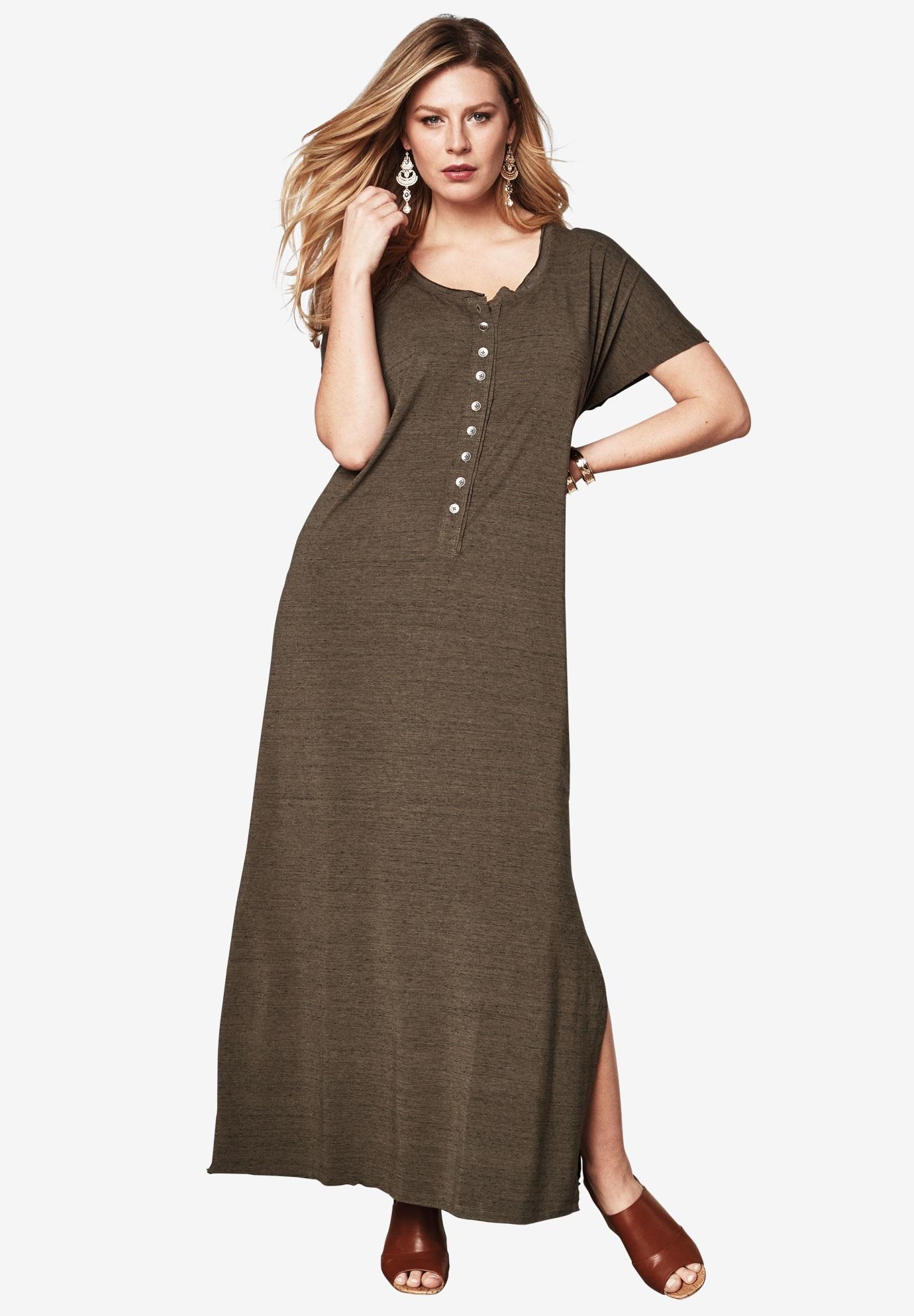 Henley Maxi T-Shirt Dress | Plus Size Dresses | Roaman's