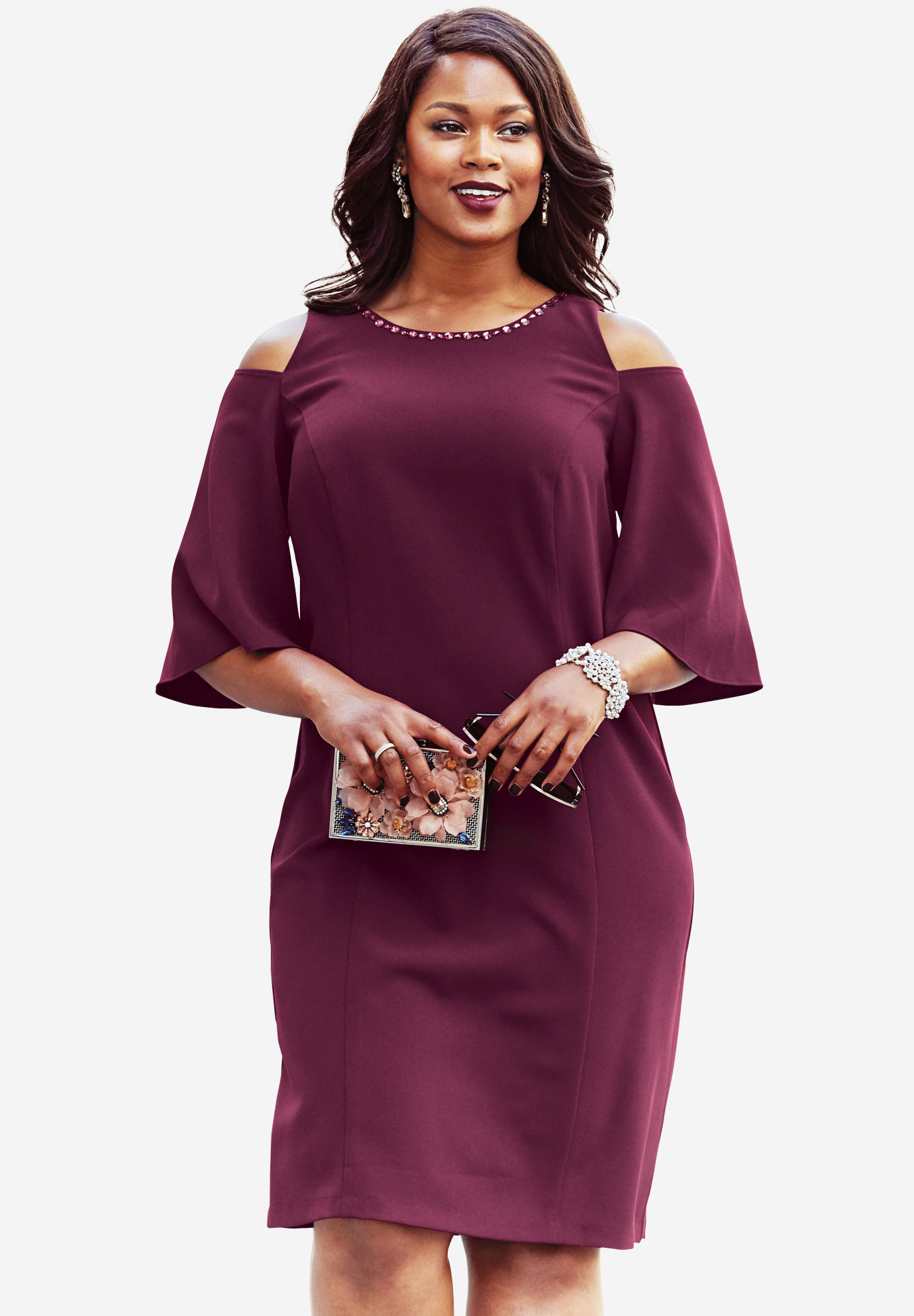 Jewel Embellished Dress, MIDNIGHT BERRY, hi-res